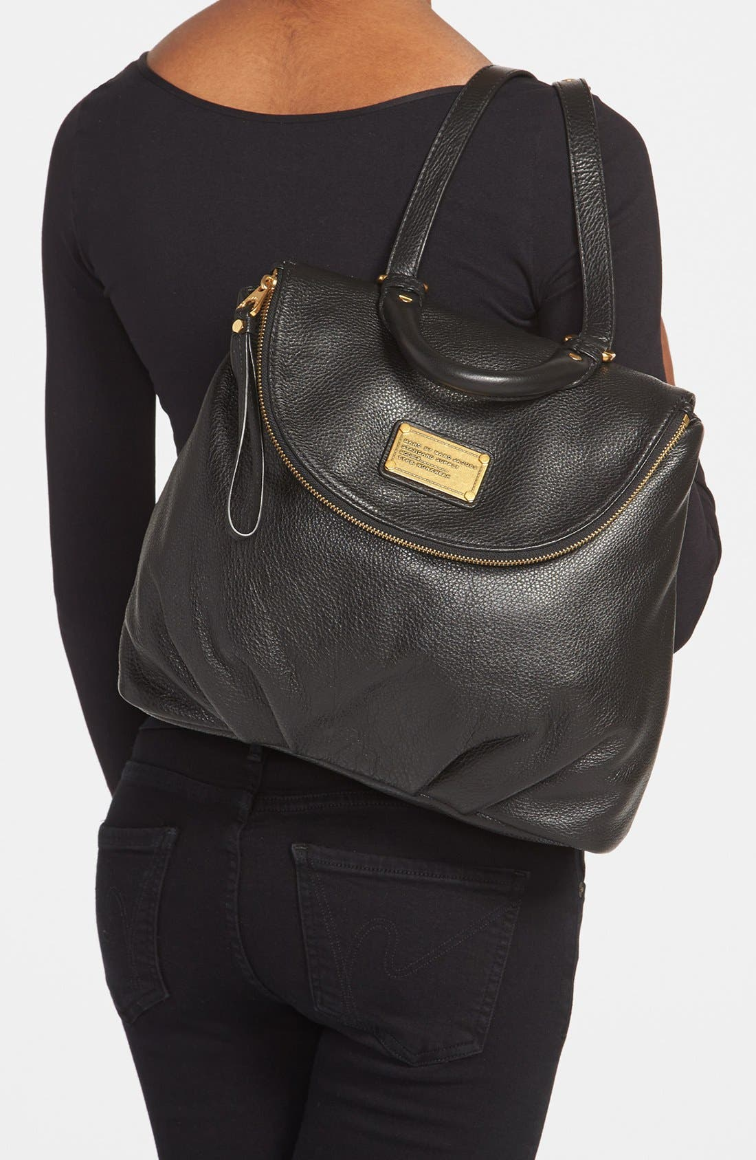 MARC BY MARC JACOBS 'Classic Q - Mariska' Backpack,                             Alternate thumbnail 3, color,                             001