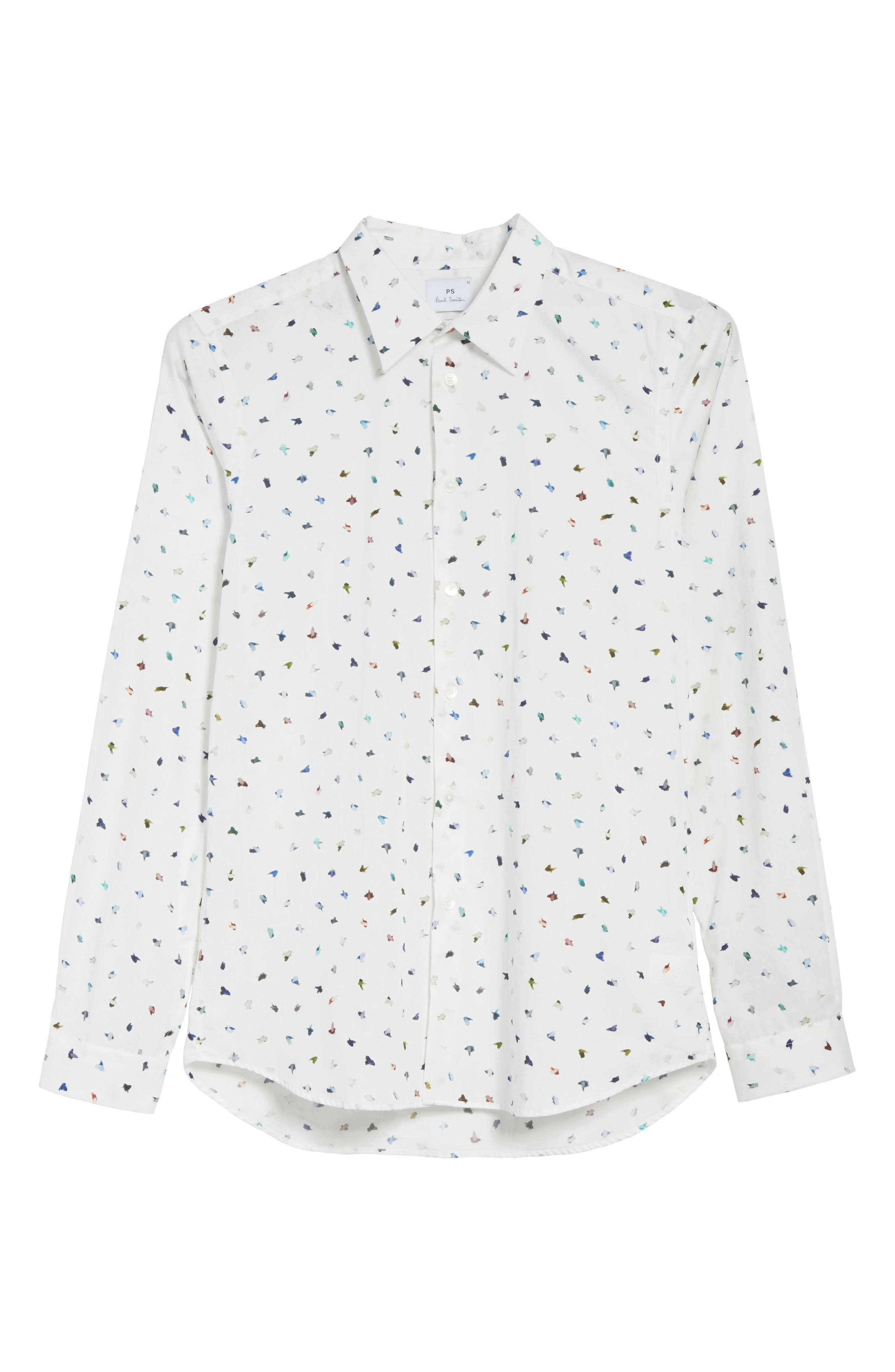 Mini Bird Print Woven Shirt,                             Alternate thumbnail 6, color,                             100
