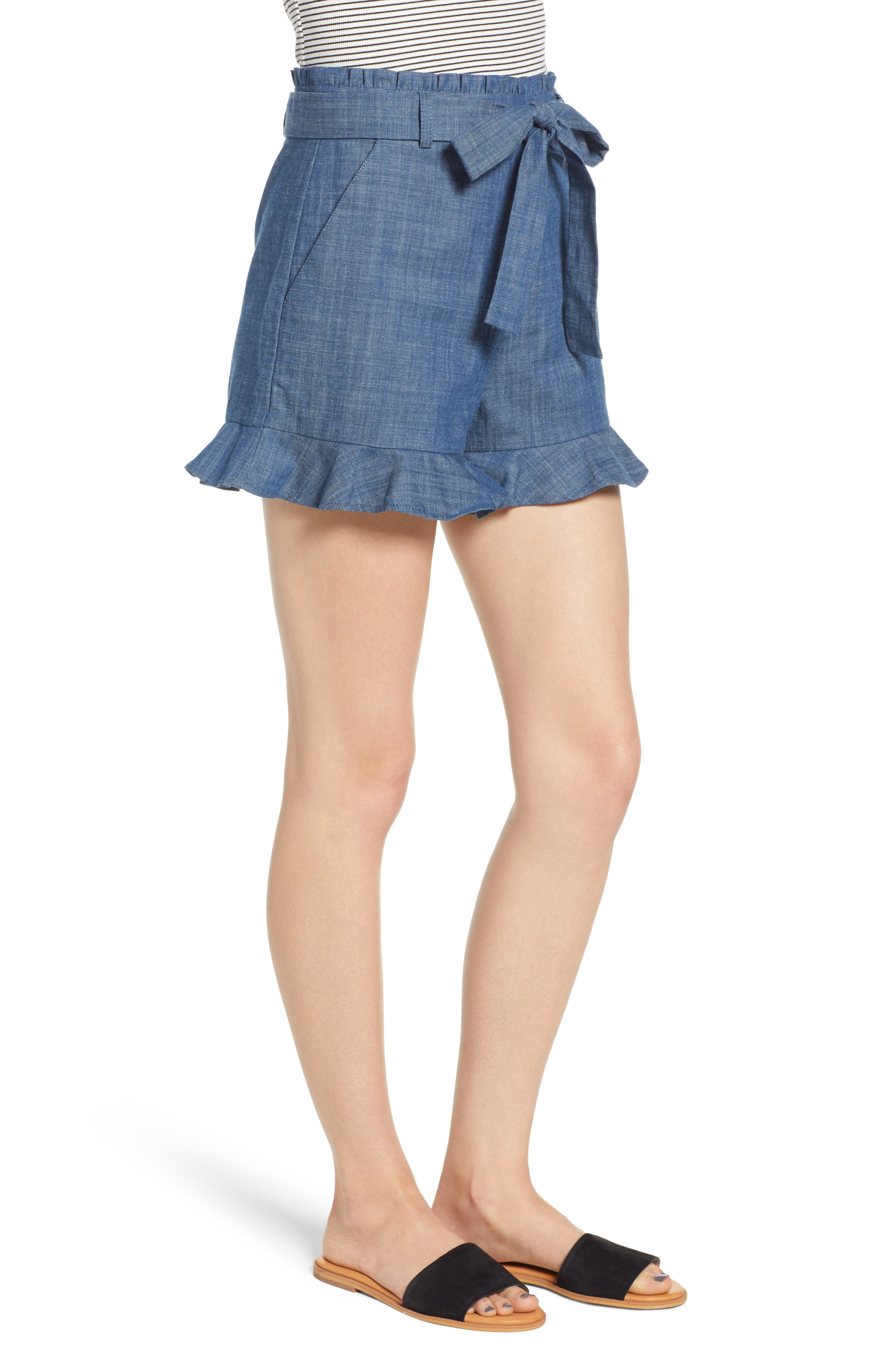 Tie Waist Chambray Shorts,                             Alternate thumbnail 3, color,                             450
