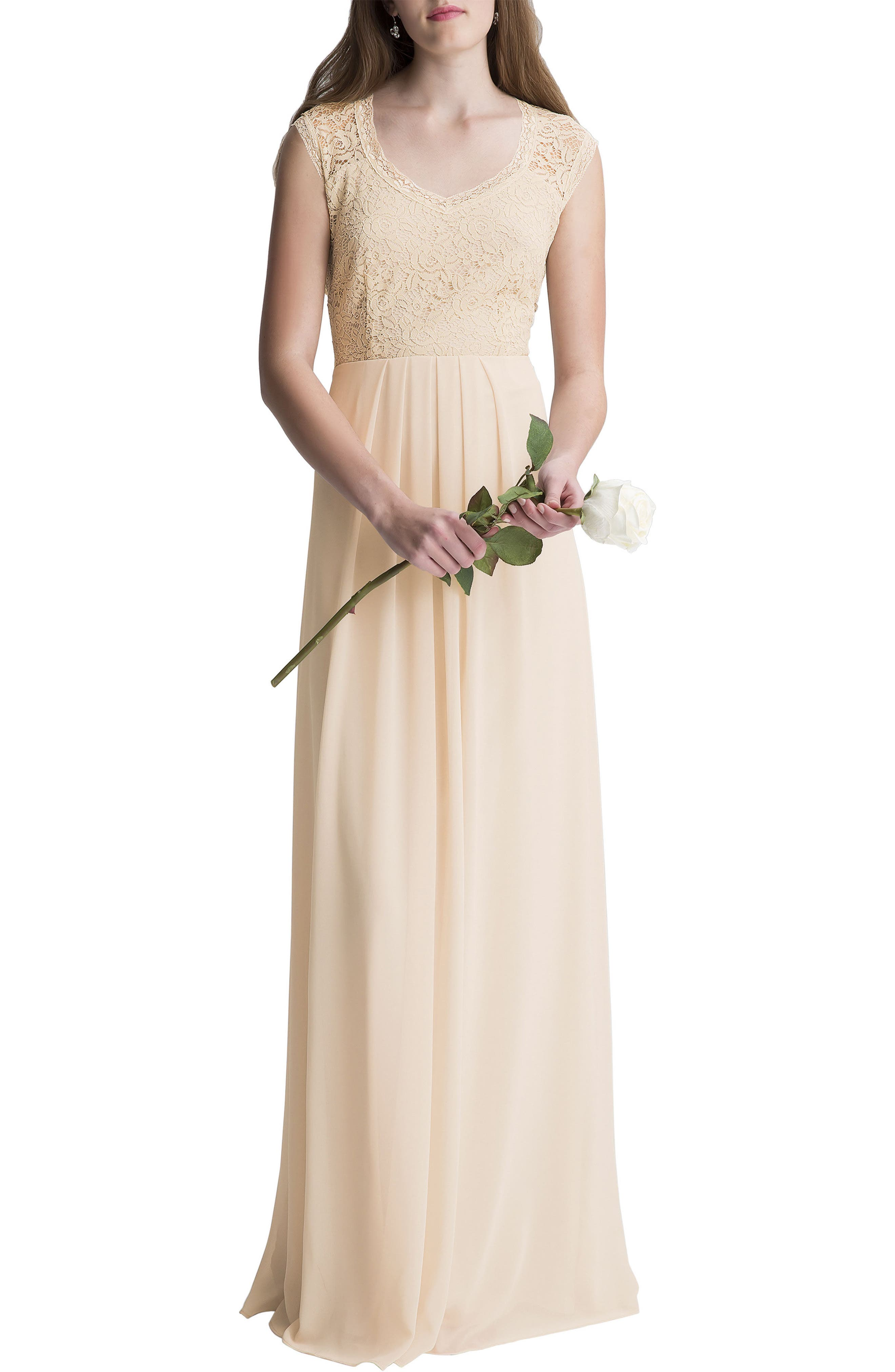 Lace Bodice A-Line Gown,                         Main,                         color,
