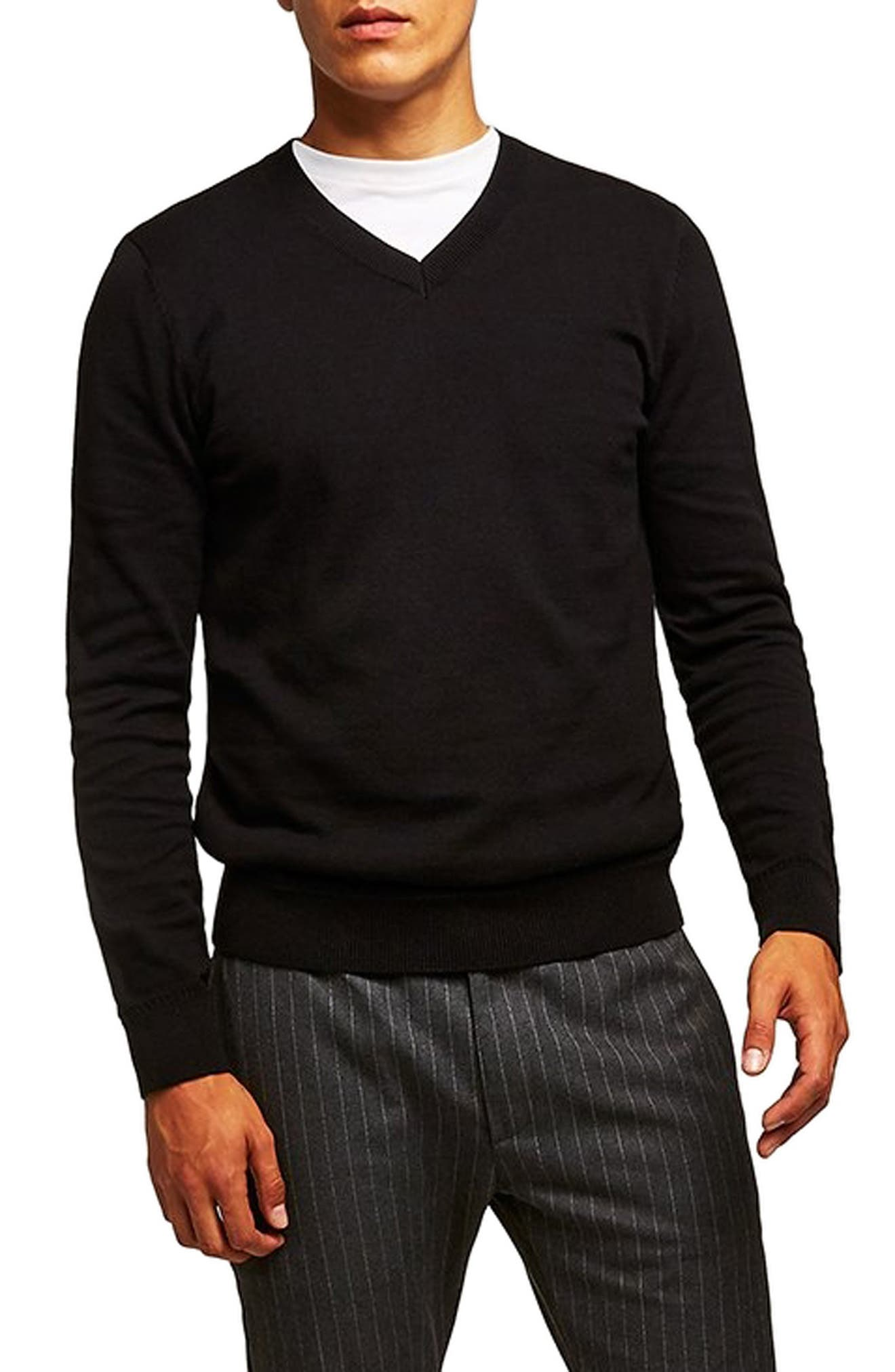 Classic V-Neck Sweater,                         Main,                         color, BLACK