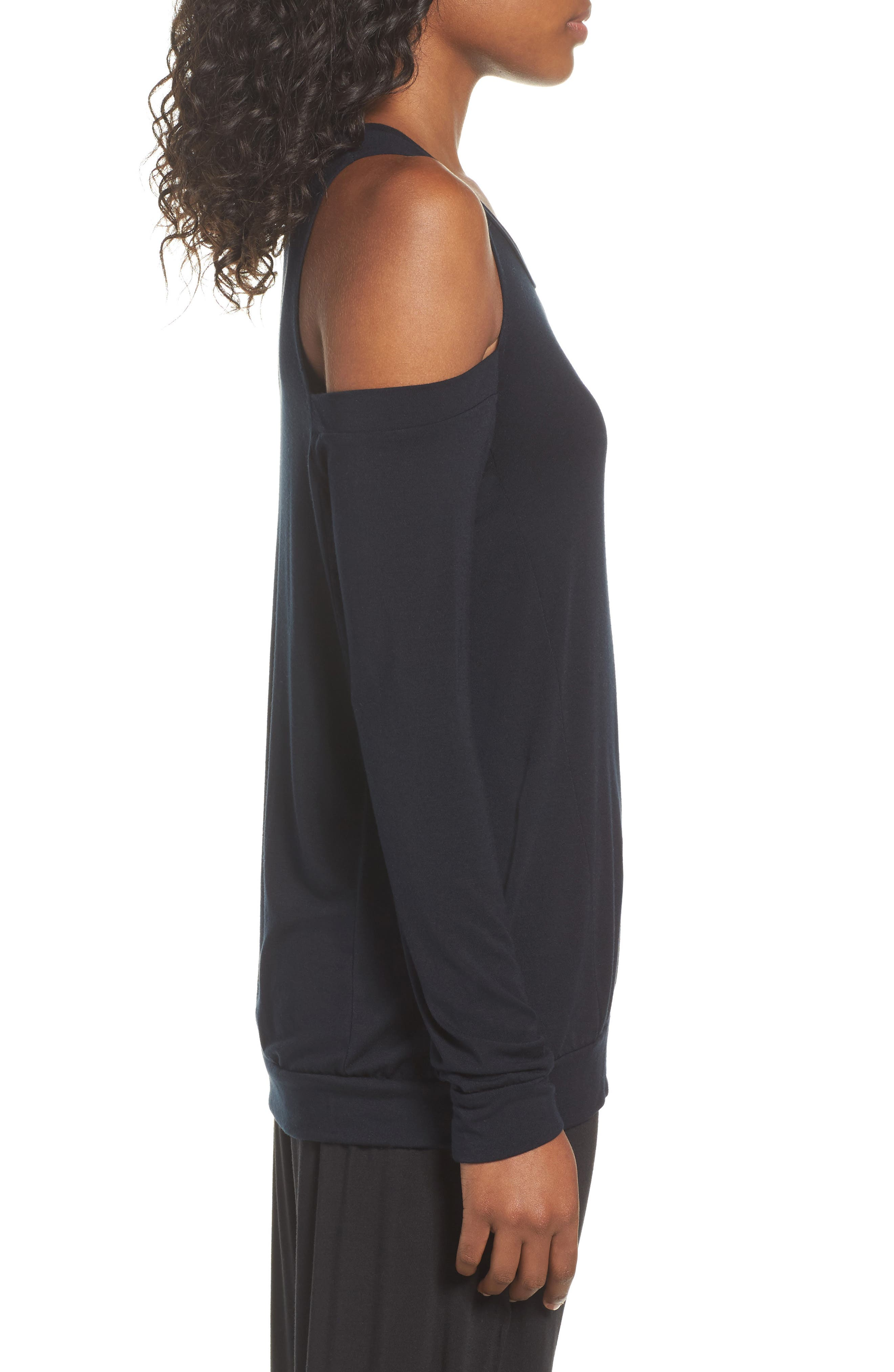 Roma Cold Shoulder Pullover,                             Alternate thumbnail 3, color,                             001