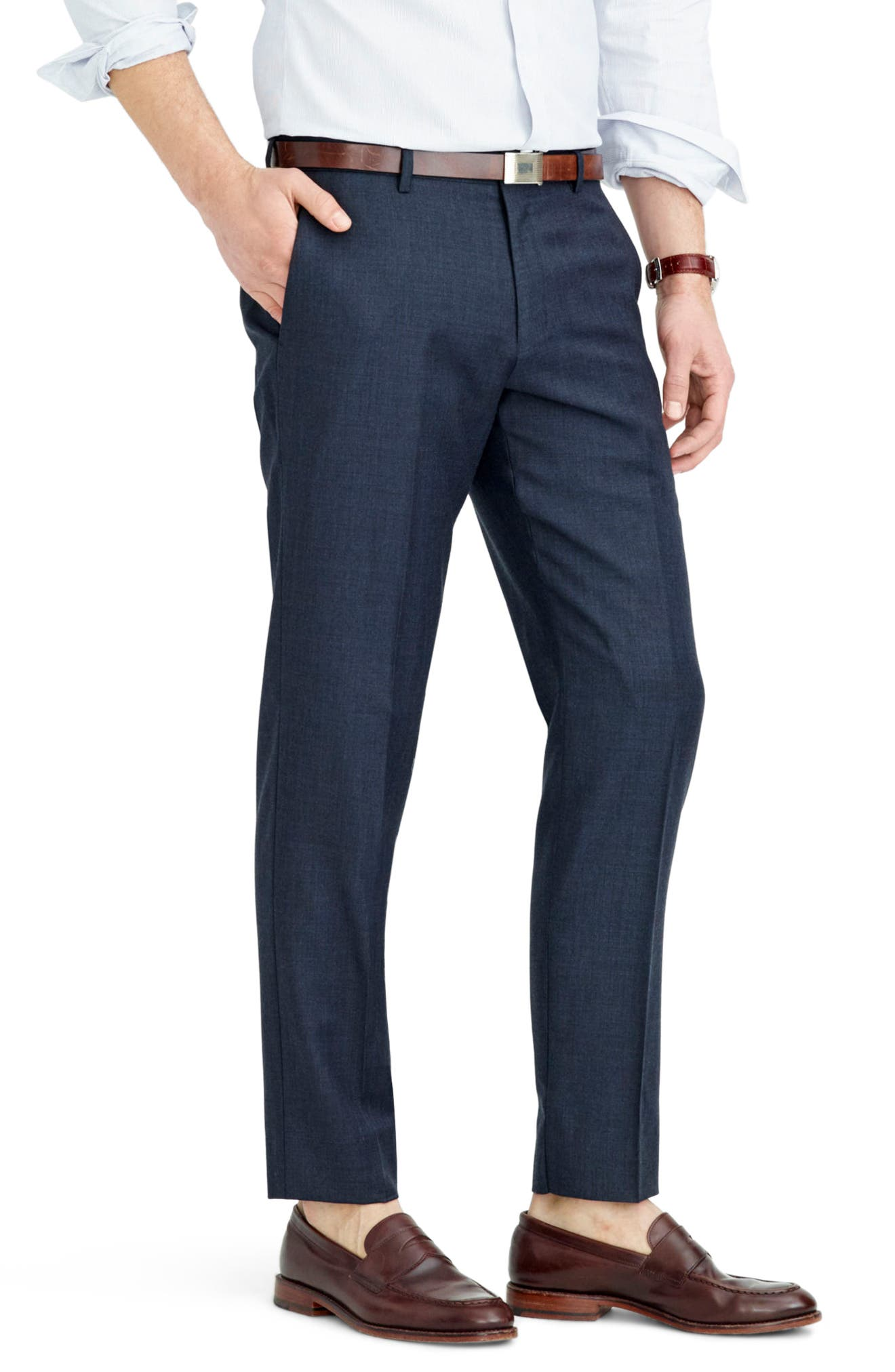 Ludlow Flat Front Solid Wool Trousers,                             Alternate thumbnail 24, color,