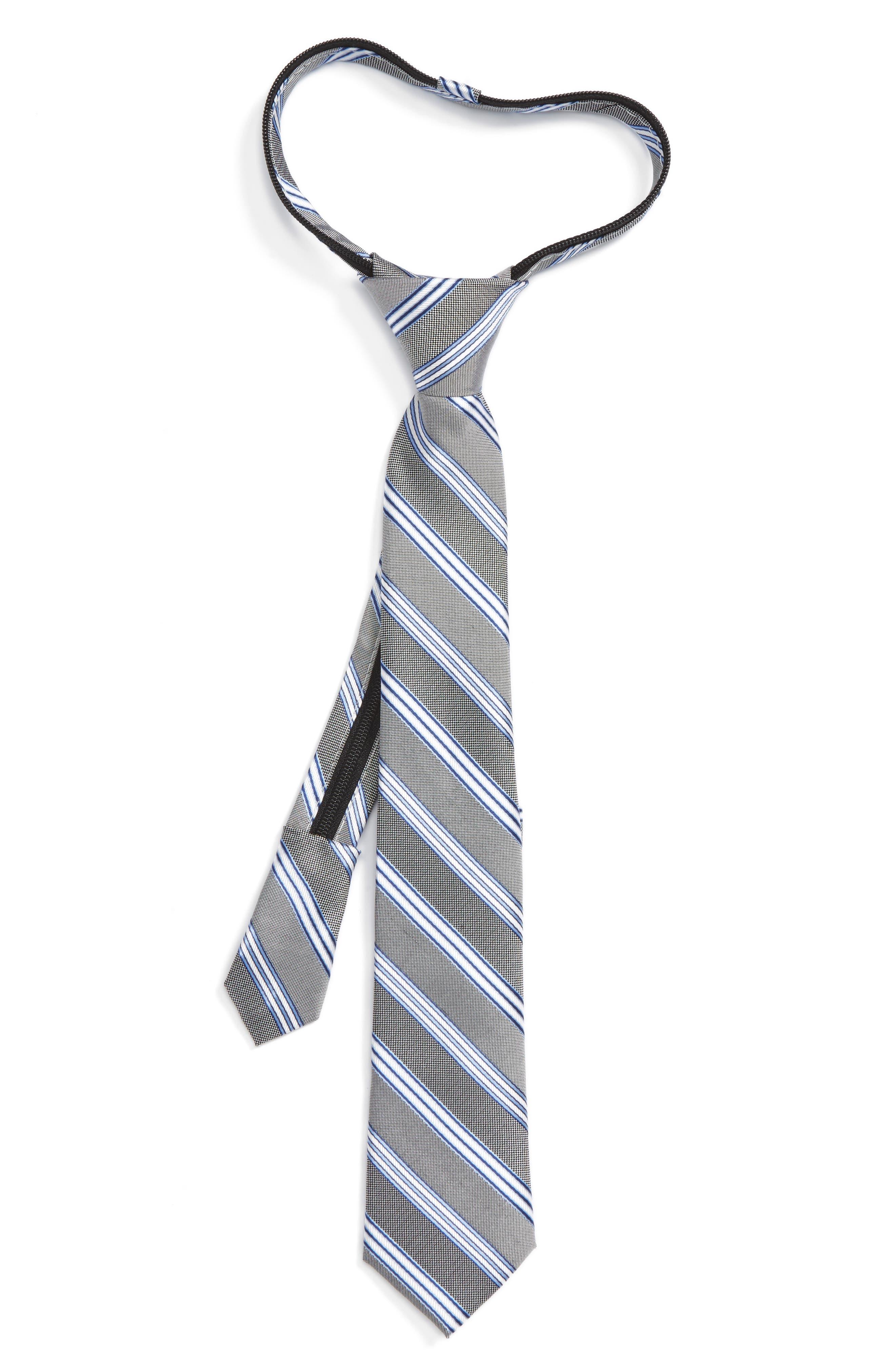Stripe Silk Zipper Tie,                             Main thumbnail 1, color,                             001