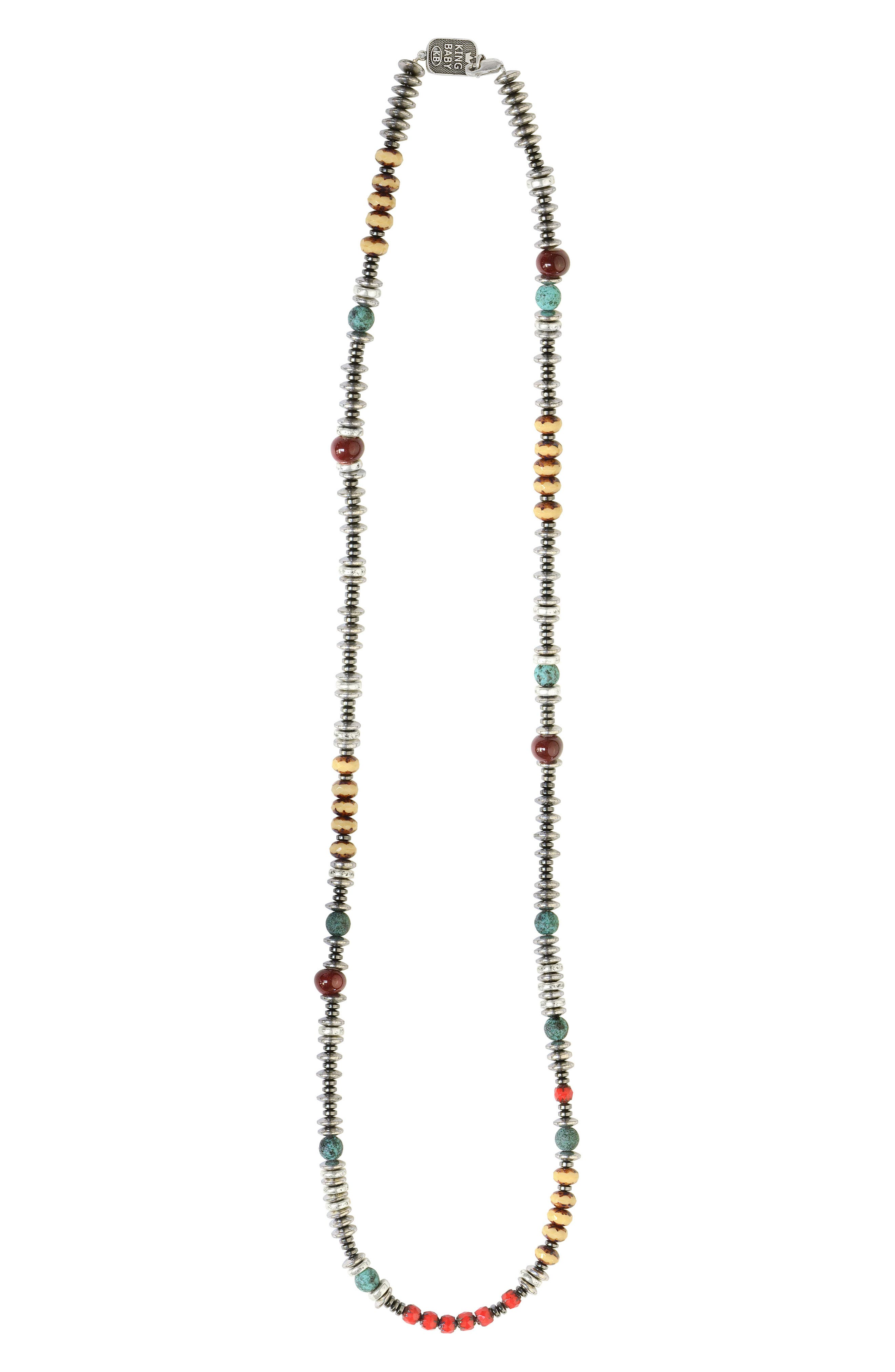 KING BABY American Voices Ceramic & Glass Bead Necklace, Main, color, TURQUOISE