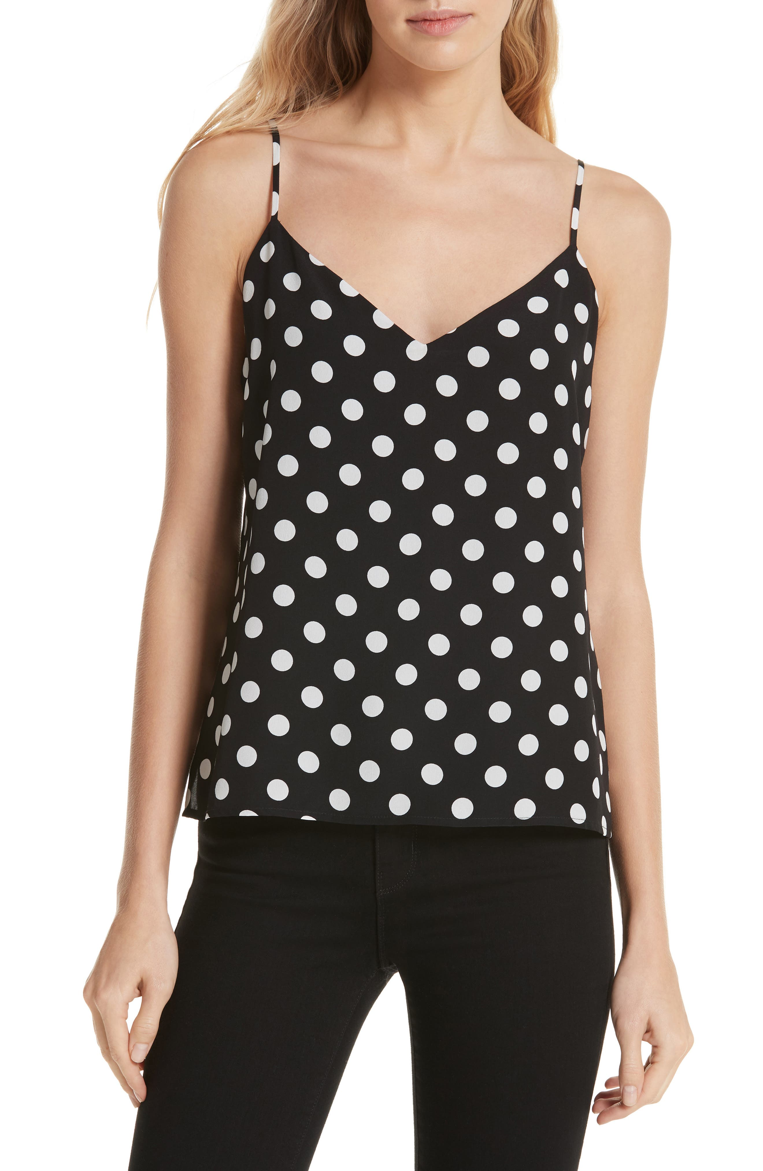 L'AGENCE,                             Jane Polka Dot Camisole,                             Main thumbnail 1, color,                             BLACK/ IVORY
