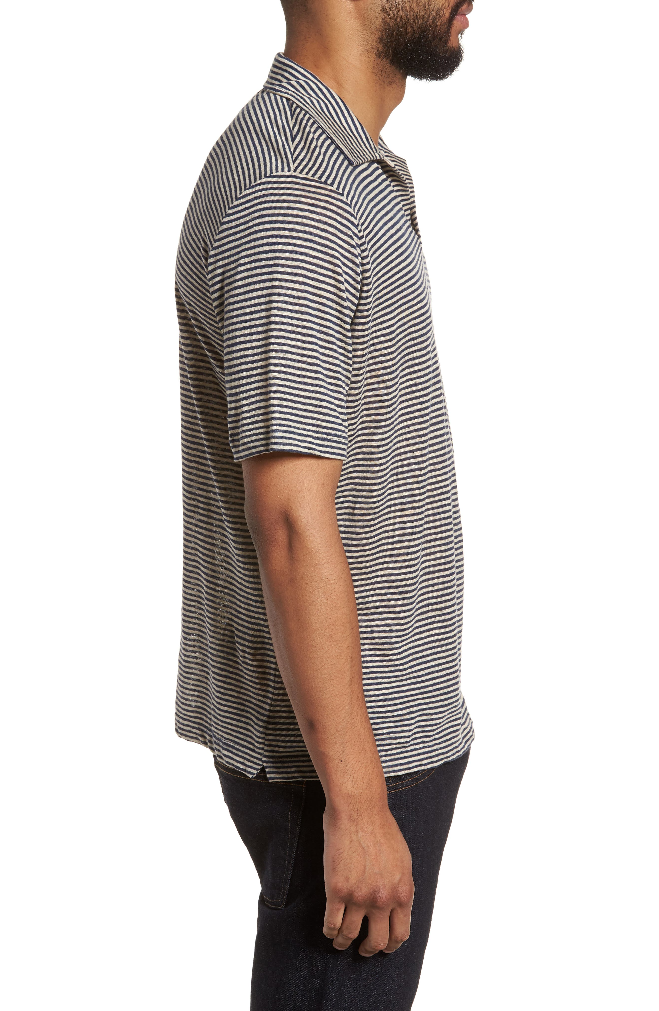 Johnny Stripe Linen Polo Shirt,                             Alternate thumbnail 3, color,                             410