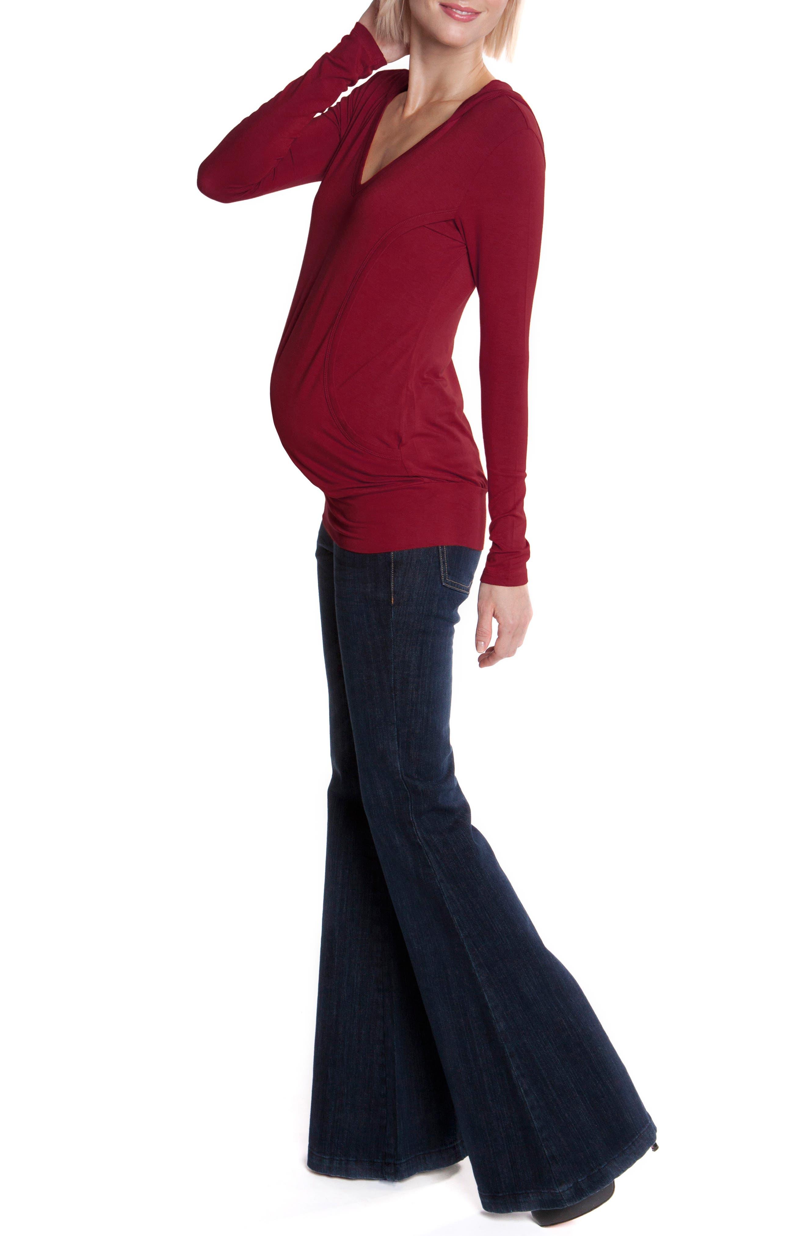 Knit Maternity/Nursing Hoodie,                             Alternate thumbnail 3, color,                             002
