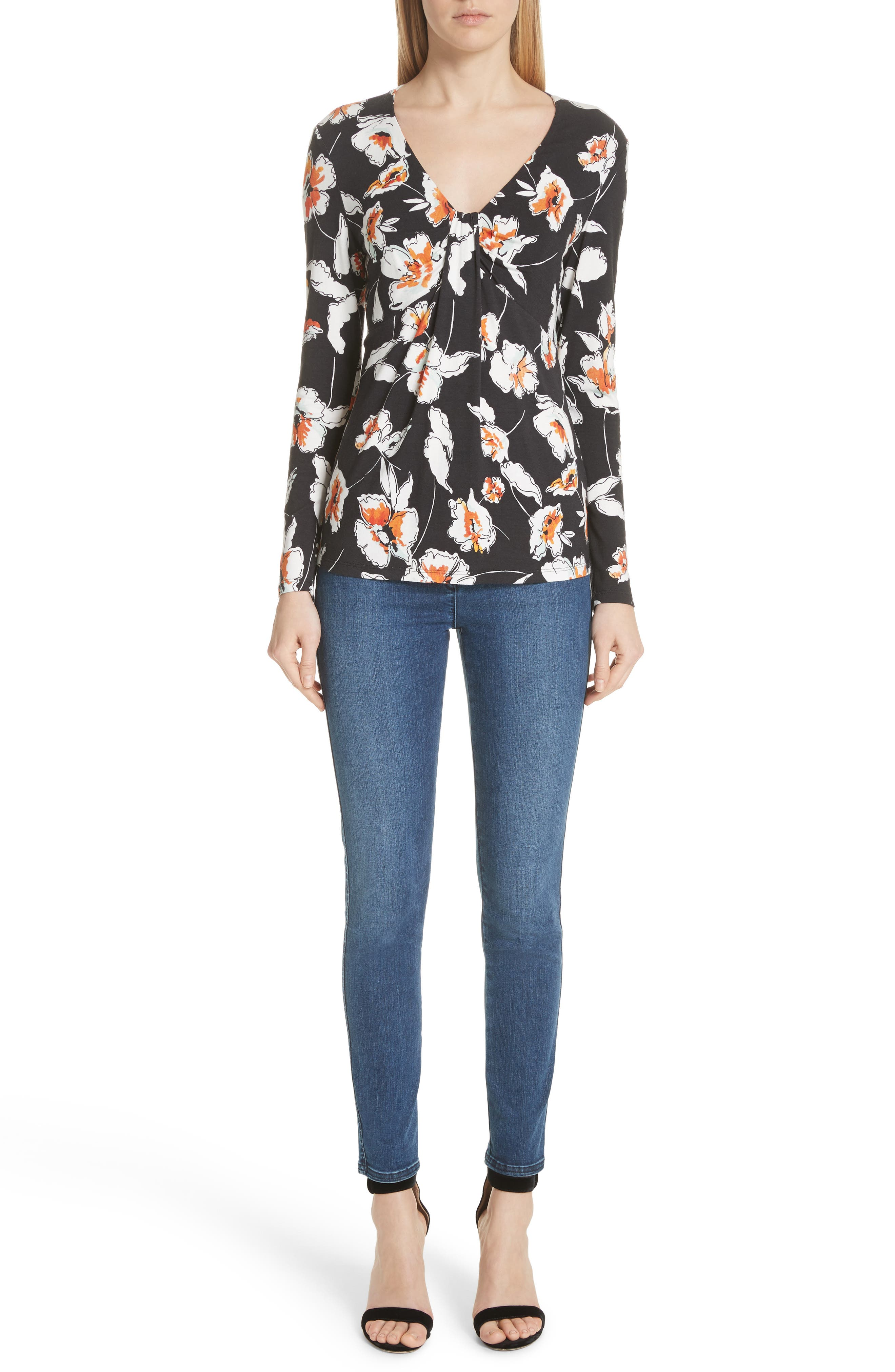 Modern Floral Print Jersey Tee,                             Alternate thumbnail 7, color,                             CAVIAR MULTI