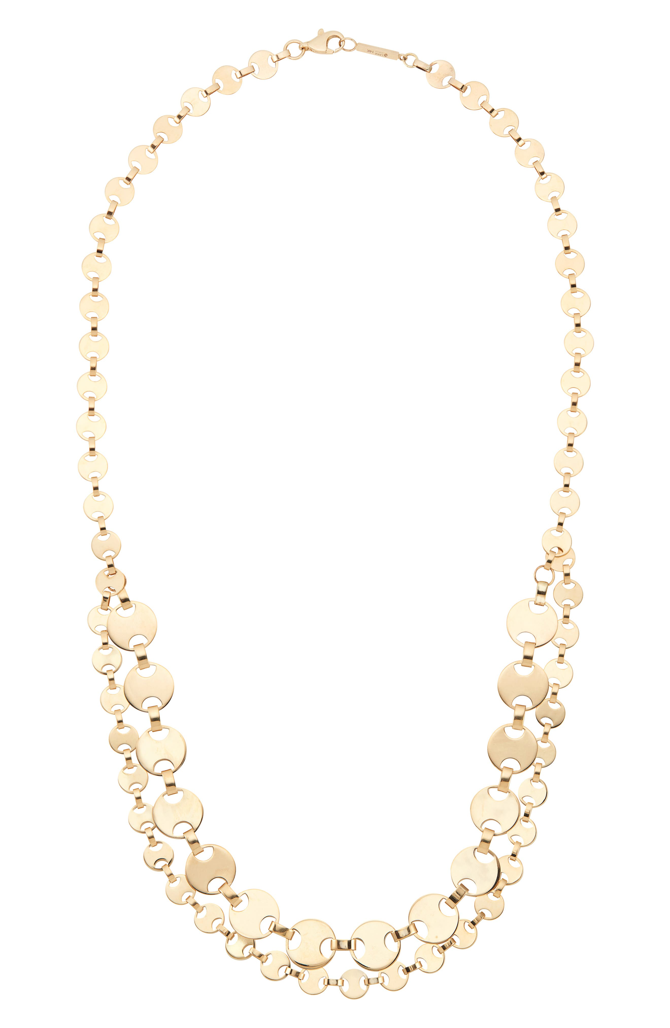 Two-Row Flat Man Chain Necklace,                             Main thumbnail 1, color,                             GOLD