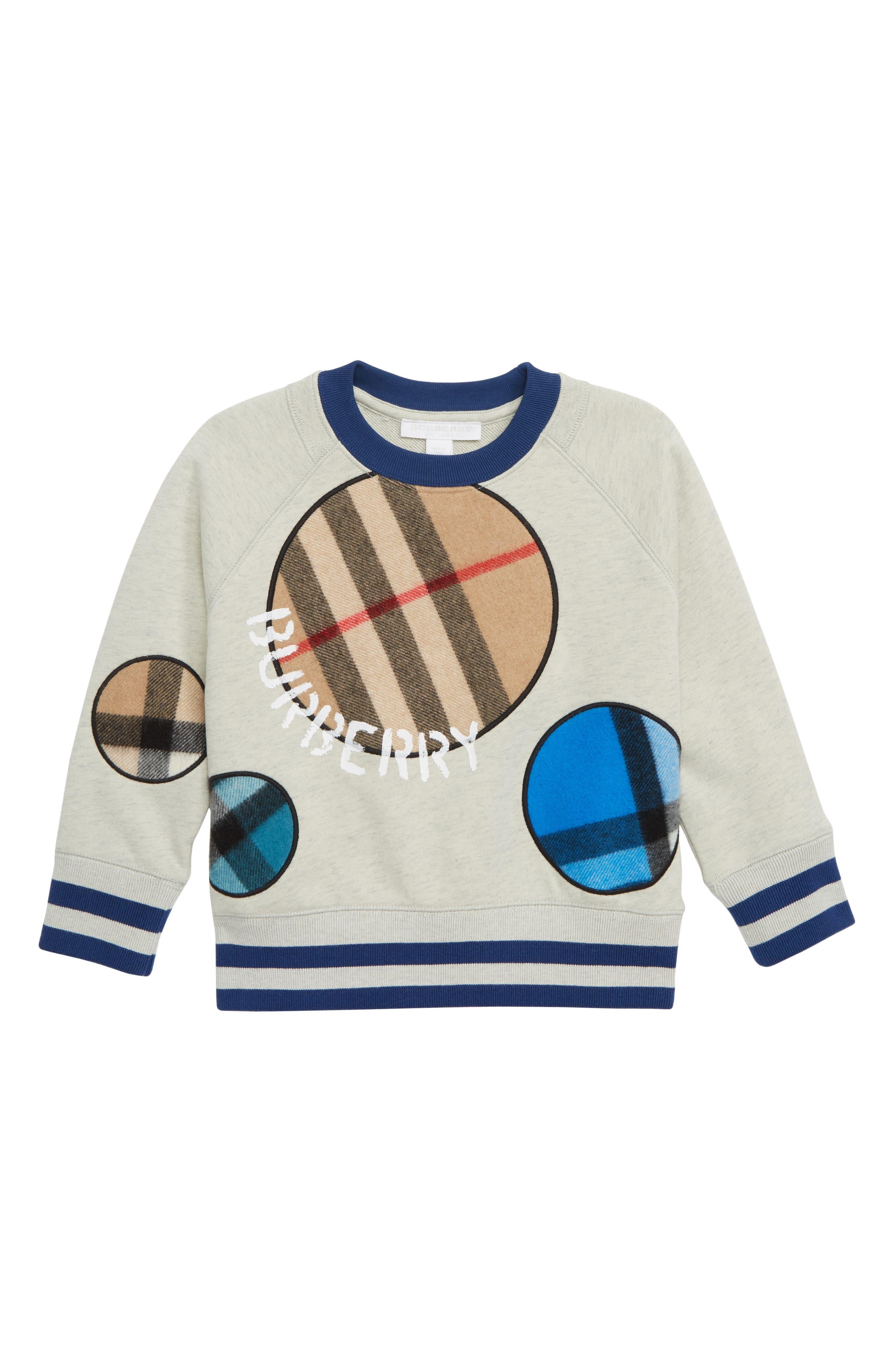 Toddler Boys Burberry Check Dots Sweatshirt Size 6Y  Beige