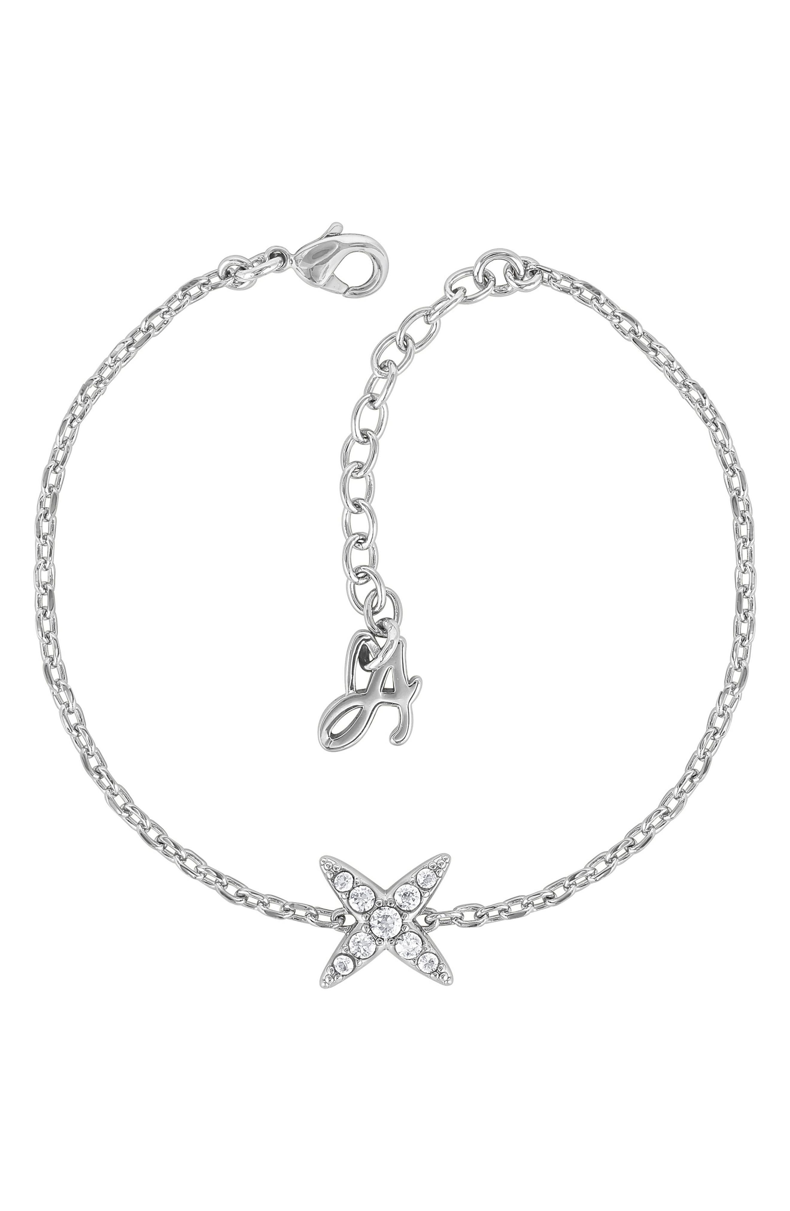 Crystal 4-Point Star Bracelet, Main, color, SILVER