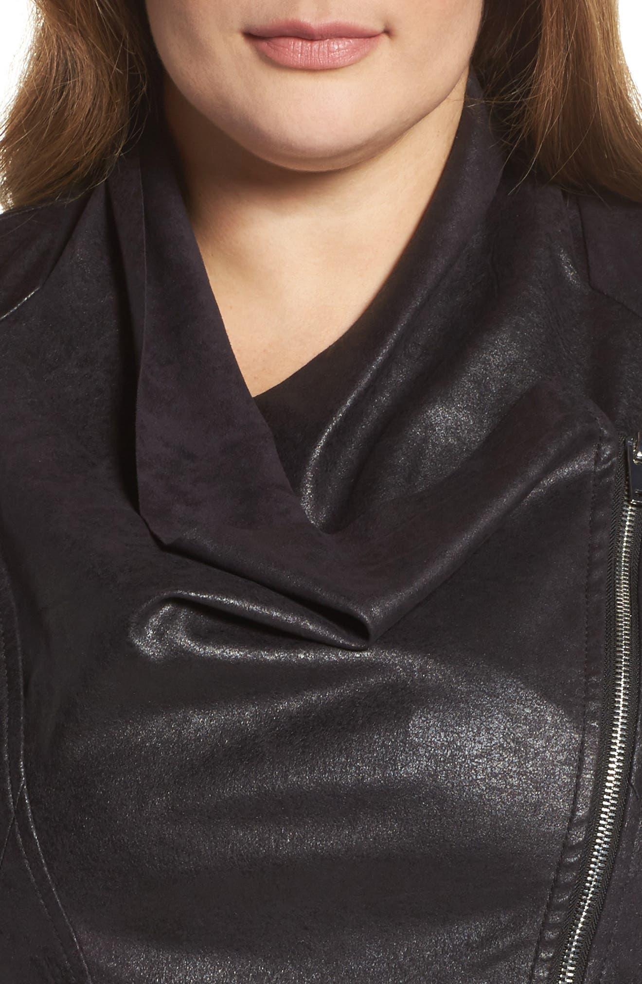 Asymmetrical Faux Leather Jacket,                             Alternate thumbnail 4, color,                             001