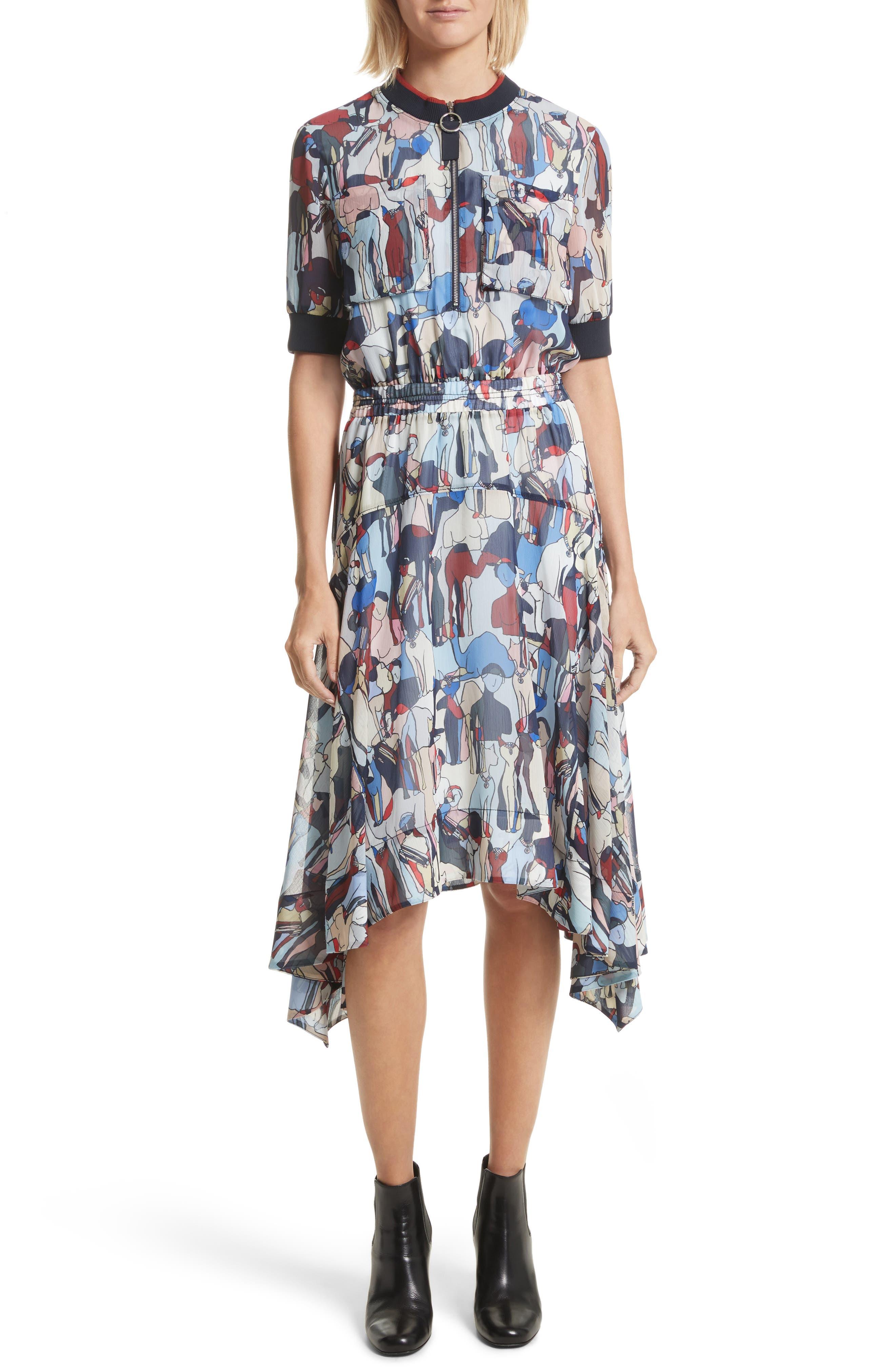 Print Handkerchief Hem Dress,                         Main,                         color,