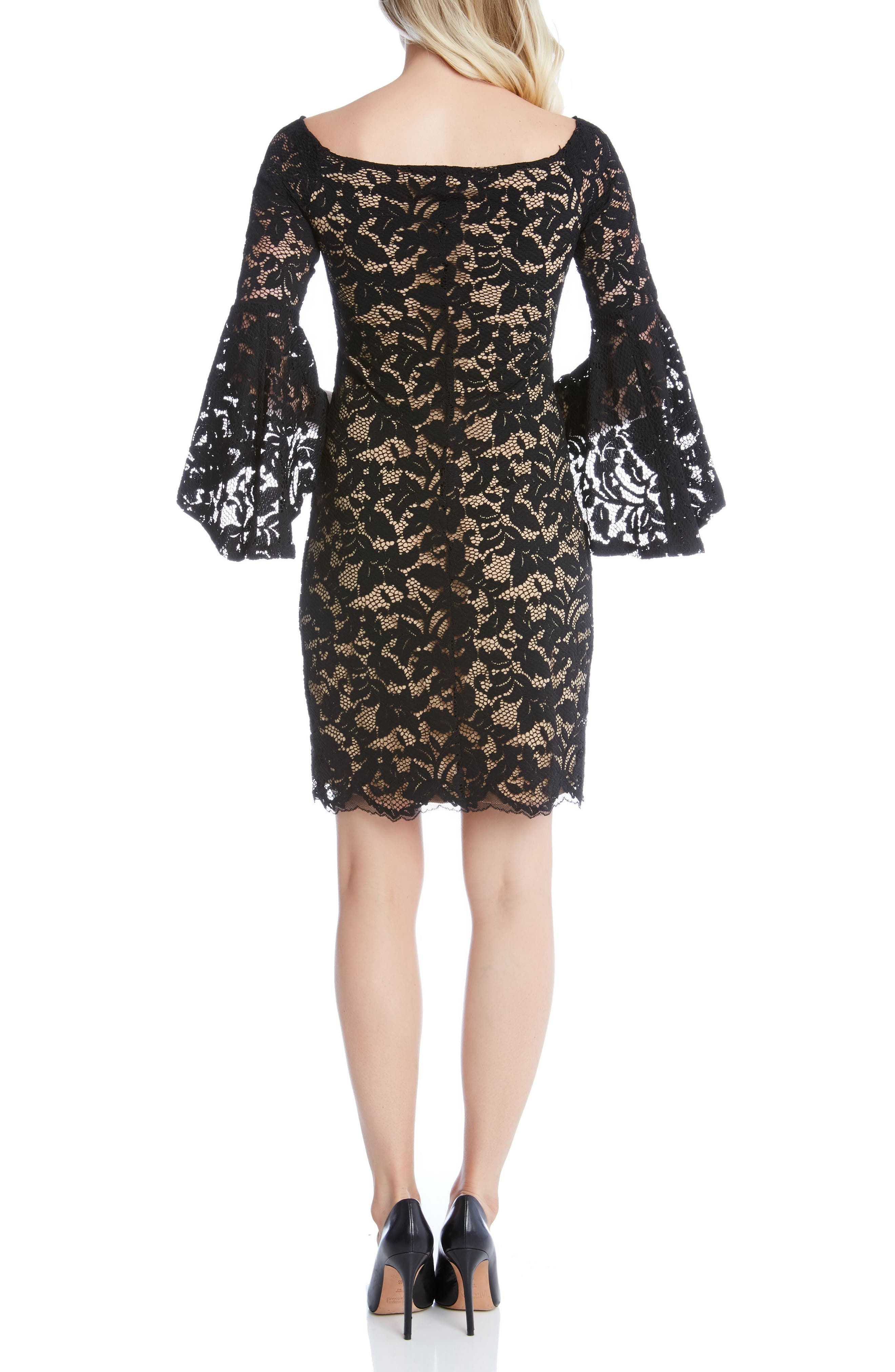 Samantha Lace Off the Shoulder Sheath Dress,                             Alternate thumbnail 2, color,                             BLACK/ NUDE
