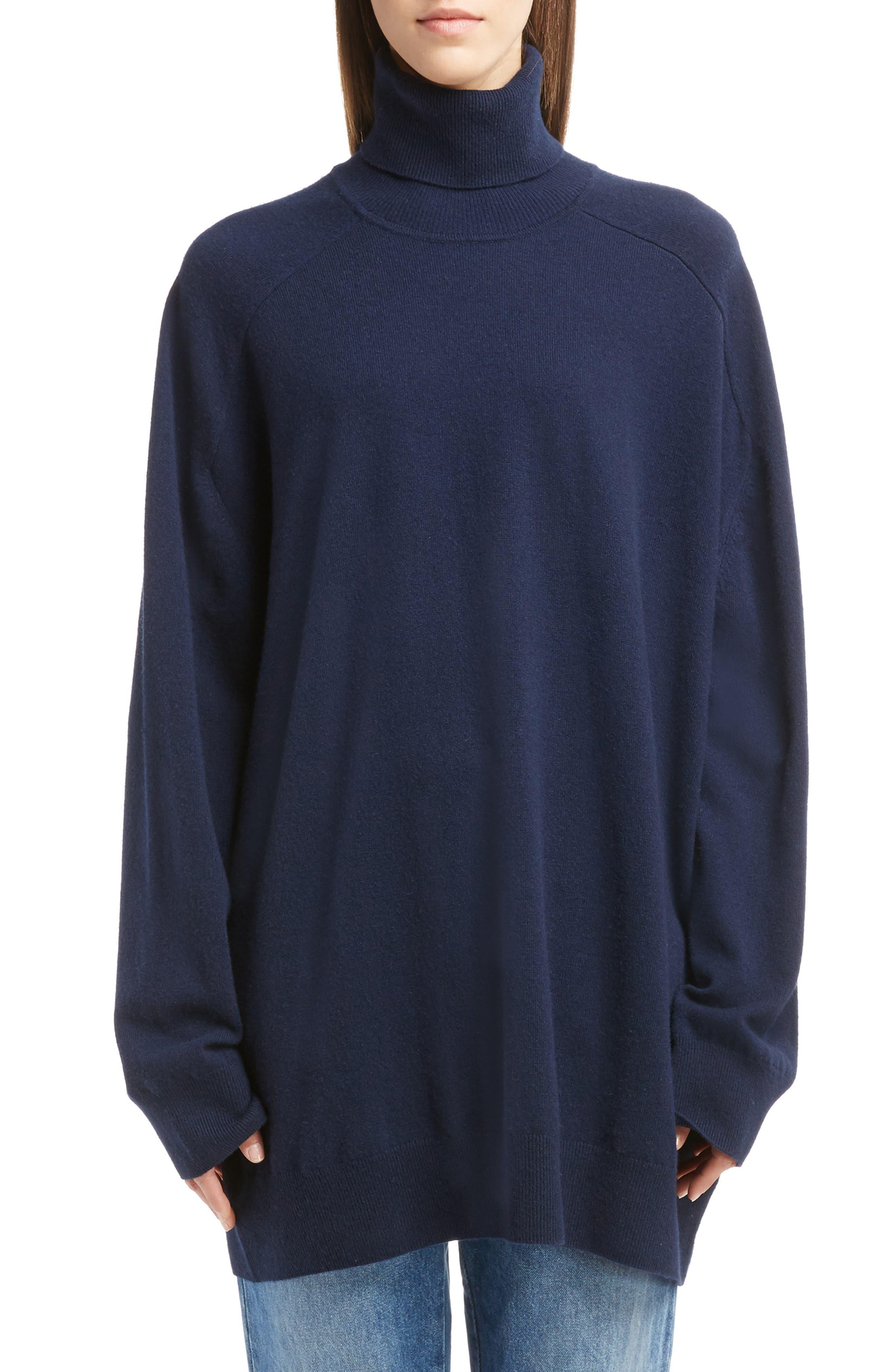 Oversized Cashmere Turtleneck Sweater,                             Main thumbnail 2, color,