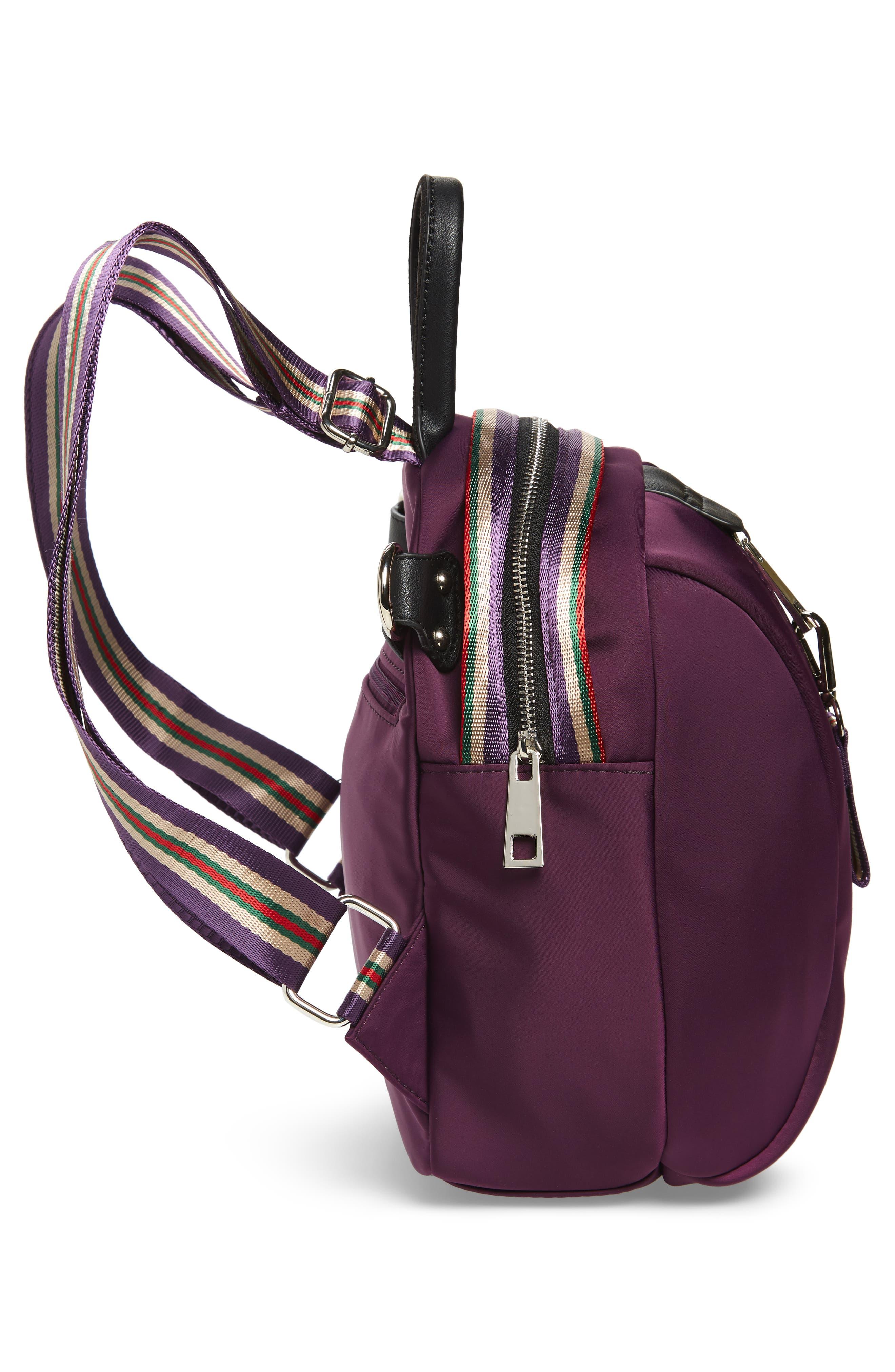 Satin Nylon & Webbing Convertible Backpack,                             Alternate thumbnail 6, color,                             PURPLE