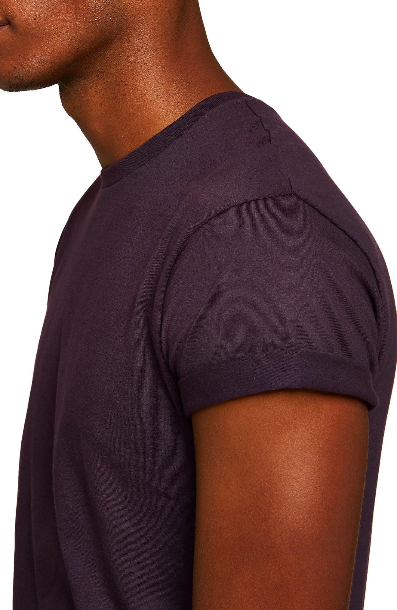 Muscle Fit Roller T-Shirt,                             Alternate thumbnail 3, color,                             PURPLE