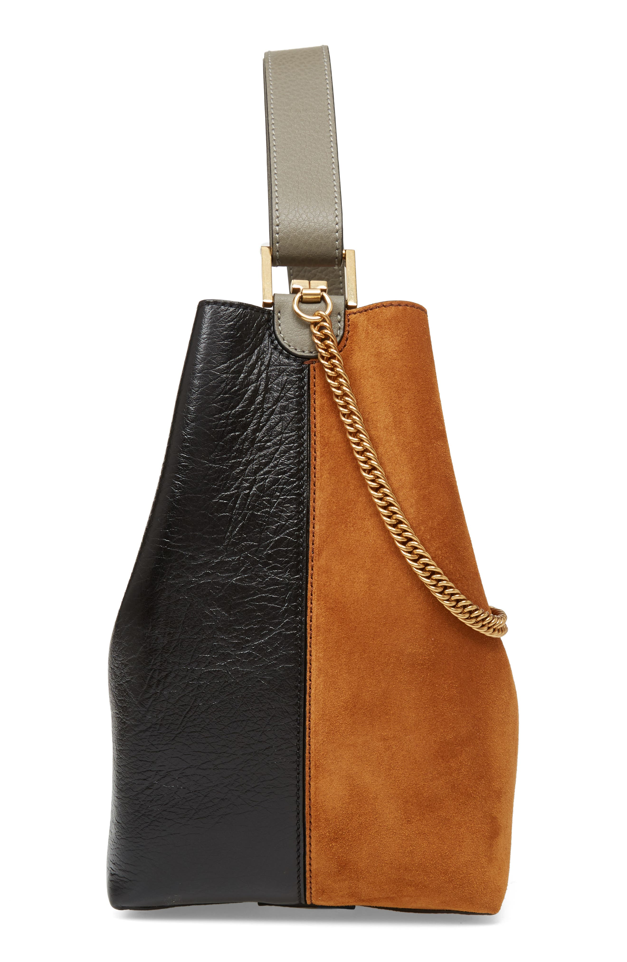Medium GV Lambskin Bucket Bag,                             Alternate thumbnail 6, color,                             BLACK/ CHESTNUT