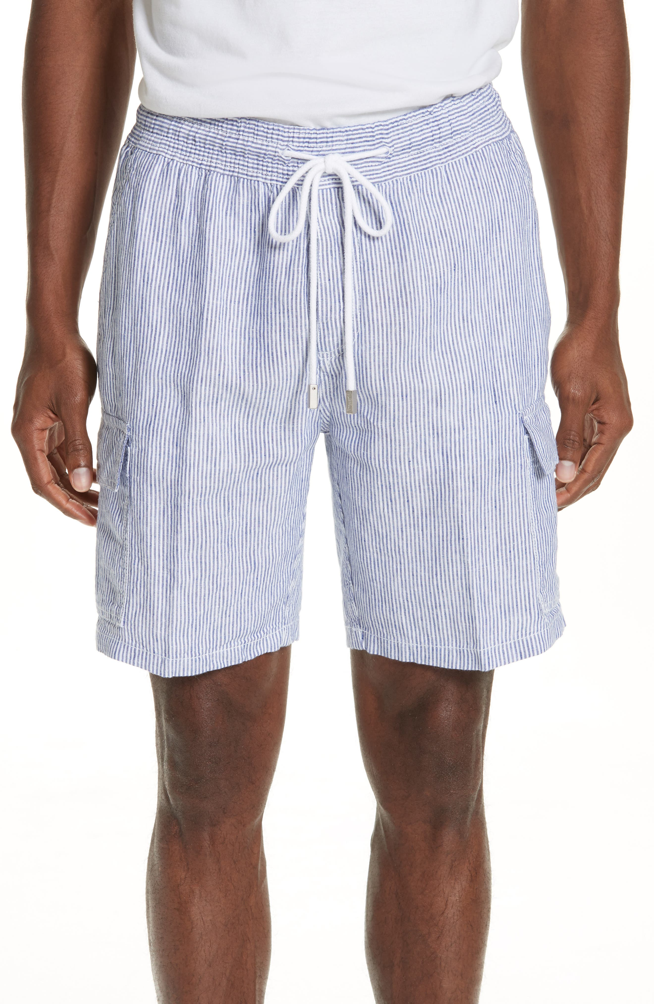 Stripe Linen Cargo Shorts,                             Main thumbnail 1, color,                             BLUE
