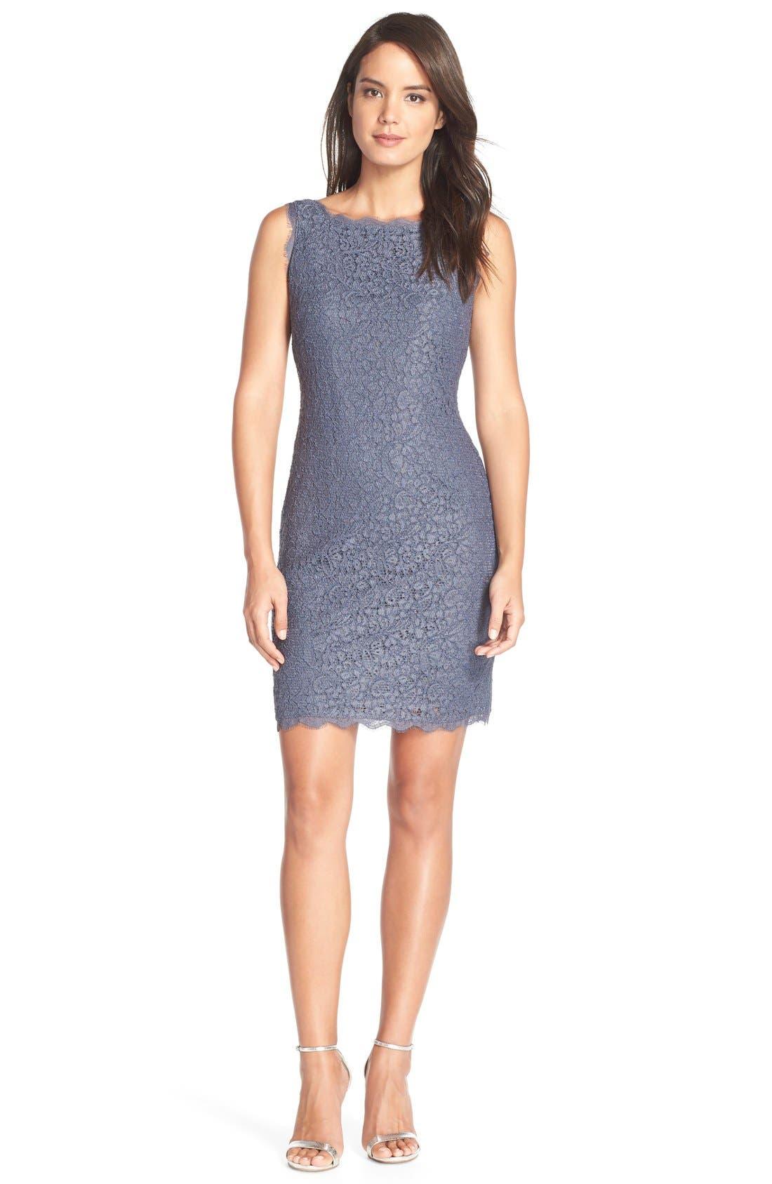 Boatneck Lace Sheath Dress,                             Main thumbnail 9, color,