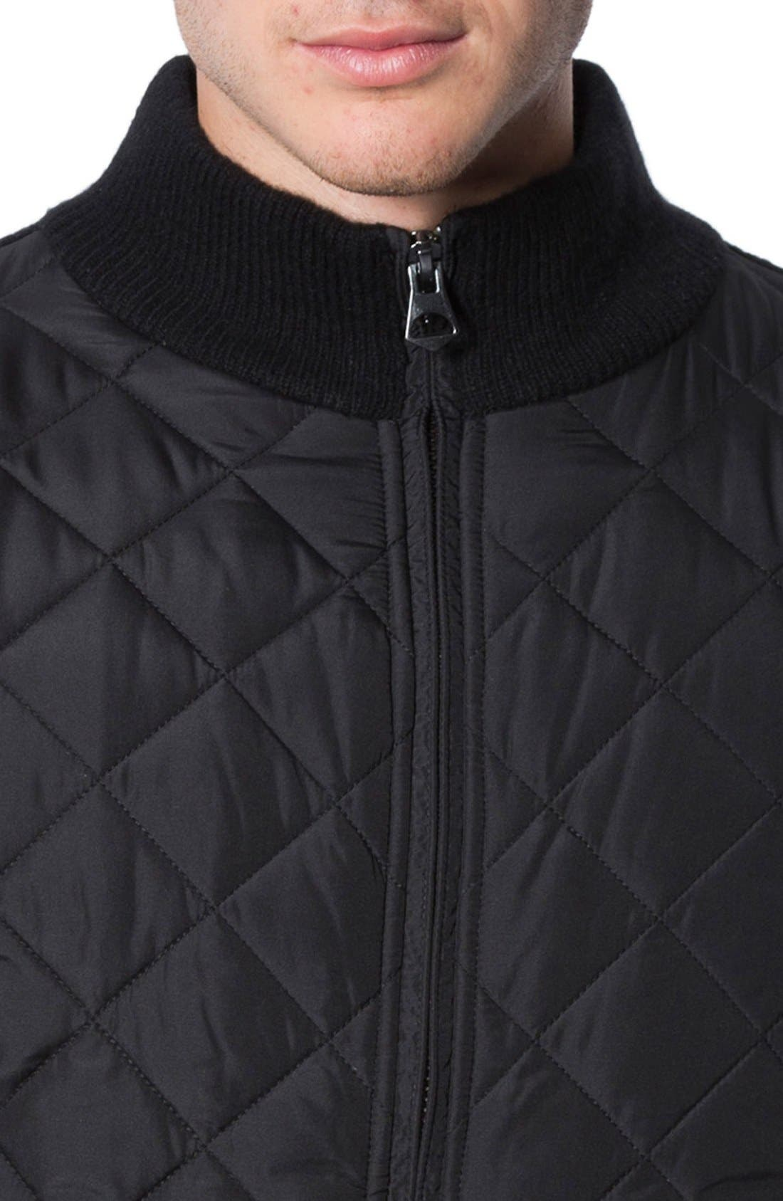 'Gatti' Quilted Panel Lambswool Knit Jacket,                             Alternate thumbnail 3, color,                             001