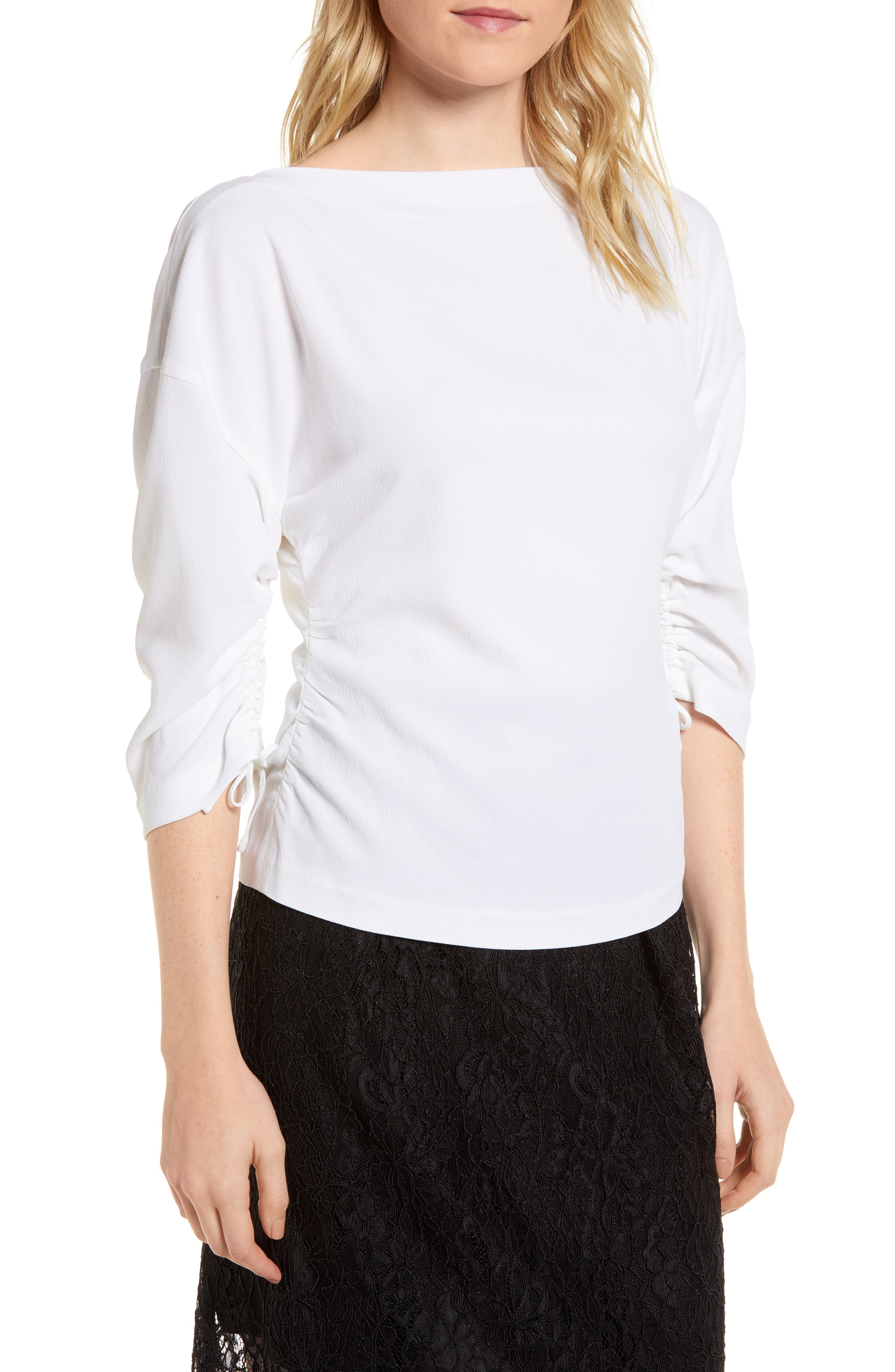 Ruched Crepe Top,                         Main,                         color, 100