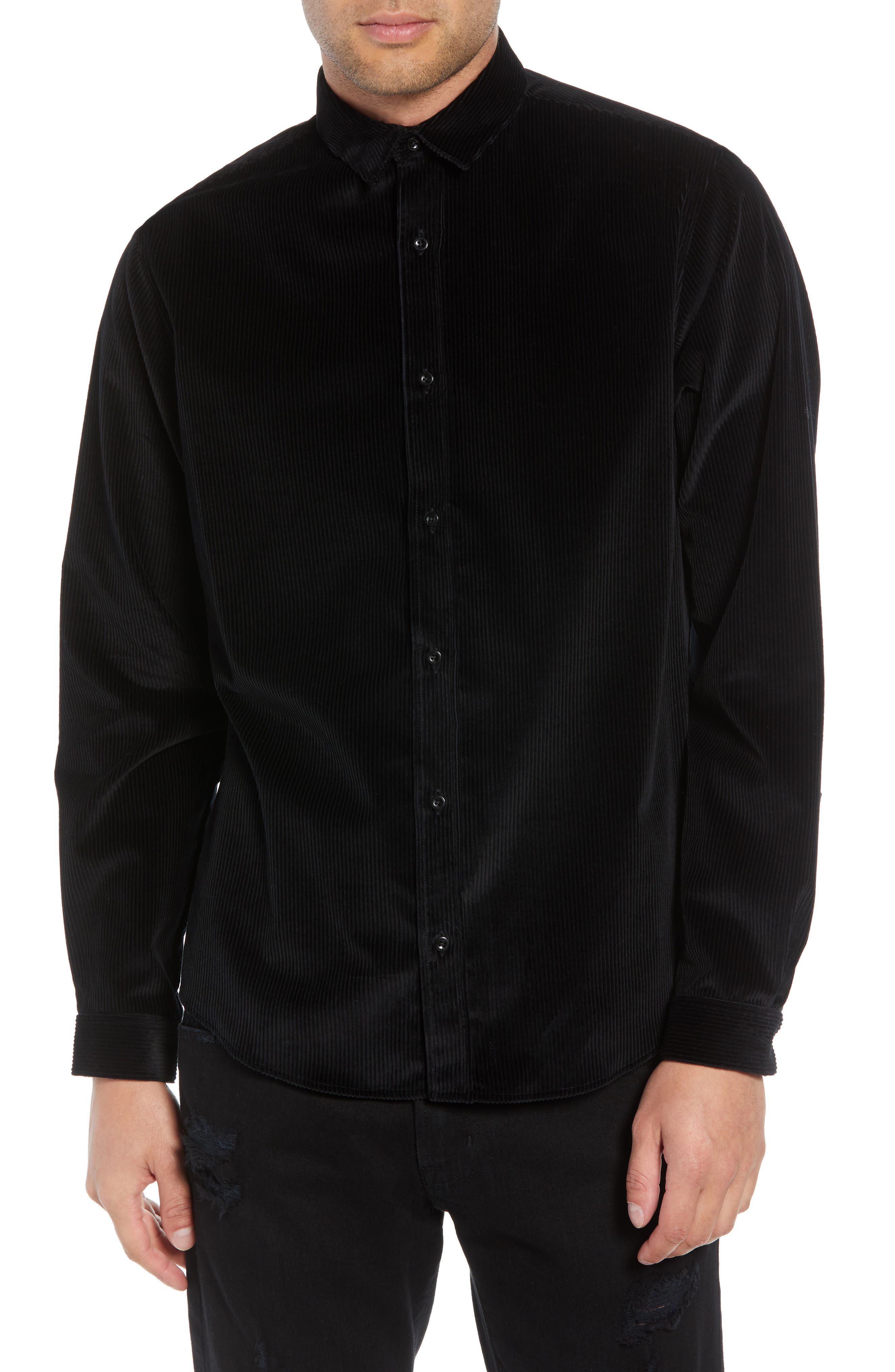 THE KOOPLES Lizzy Ribbed Regular Fit Button-Down Shirt in Black