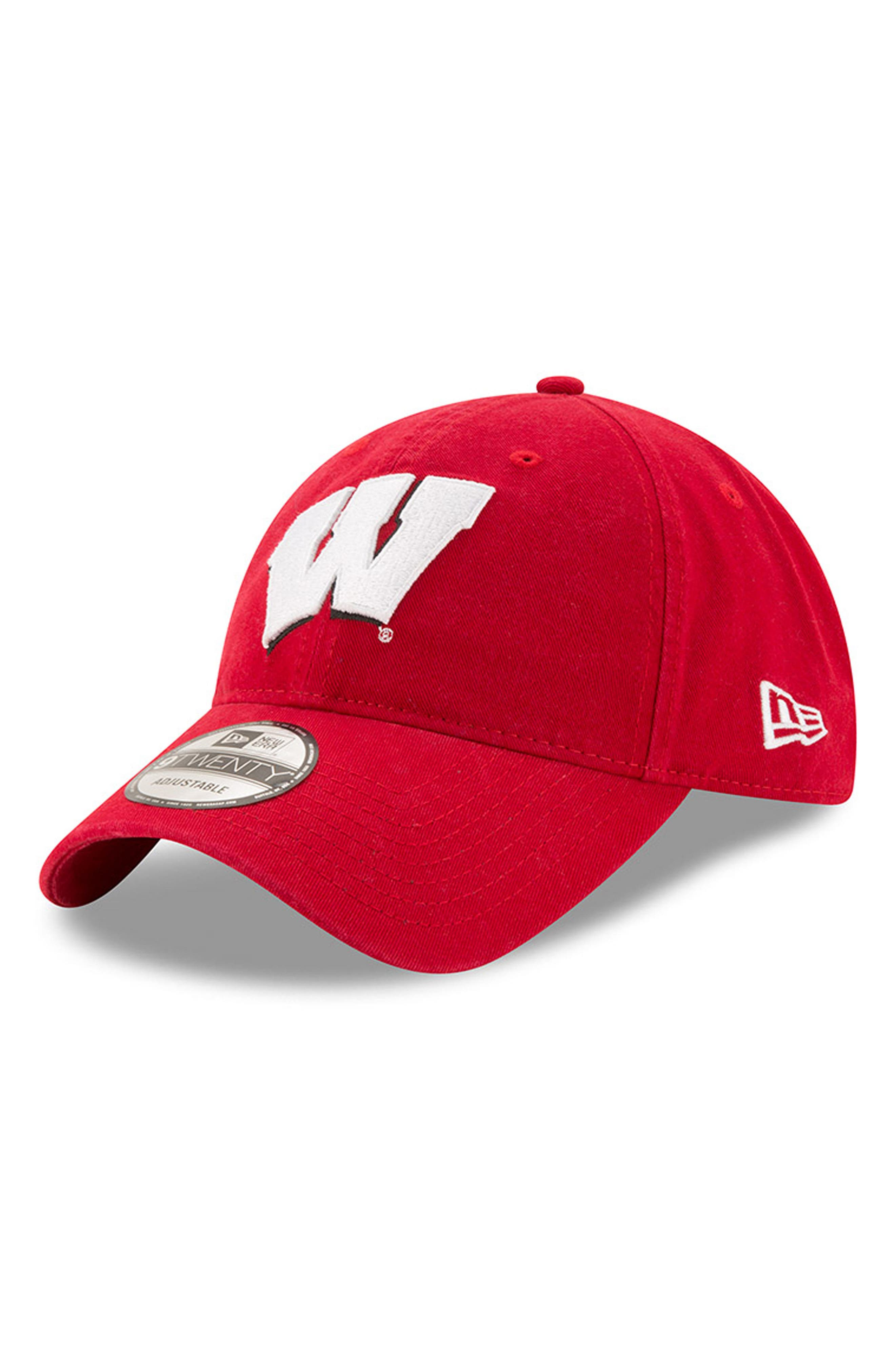 New Era Collegiate Core Classic - Wisconsin Badgers Baseball Cap,                             Main thumbnail 1, color,                             600