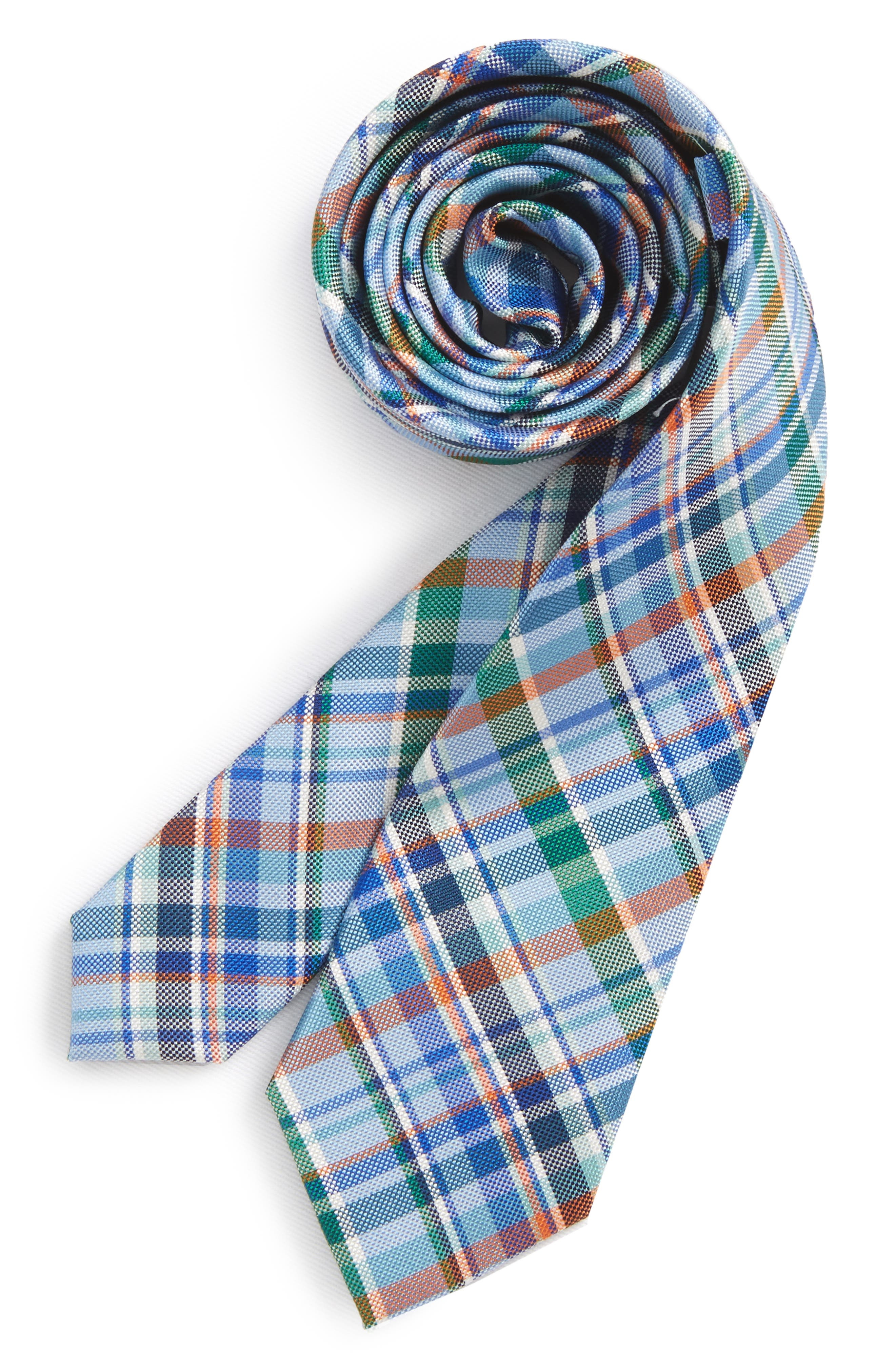 Campbell Plaid Silk Tie,                         Main,                         color, NAVY