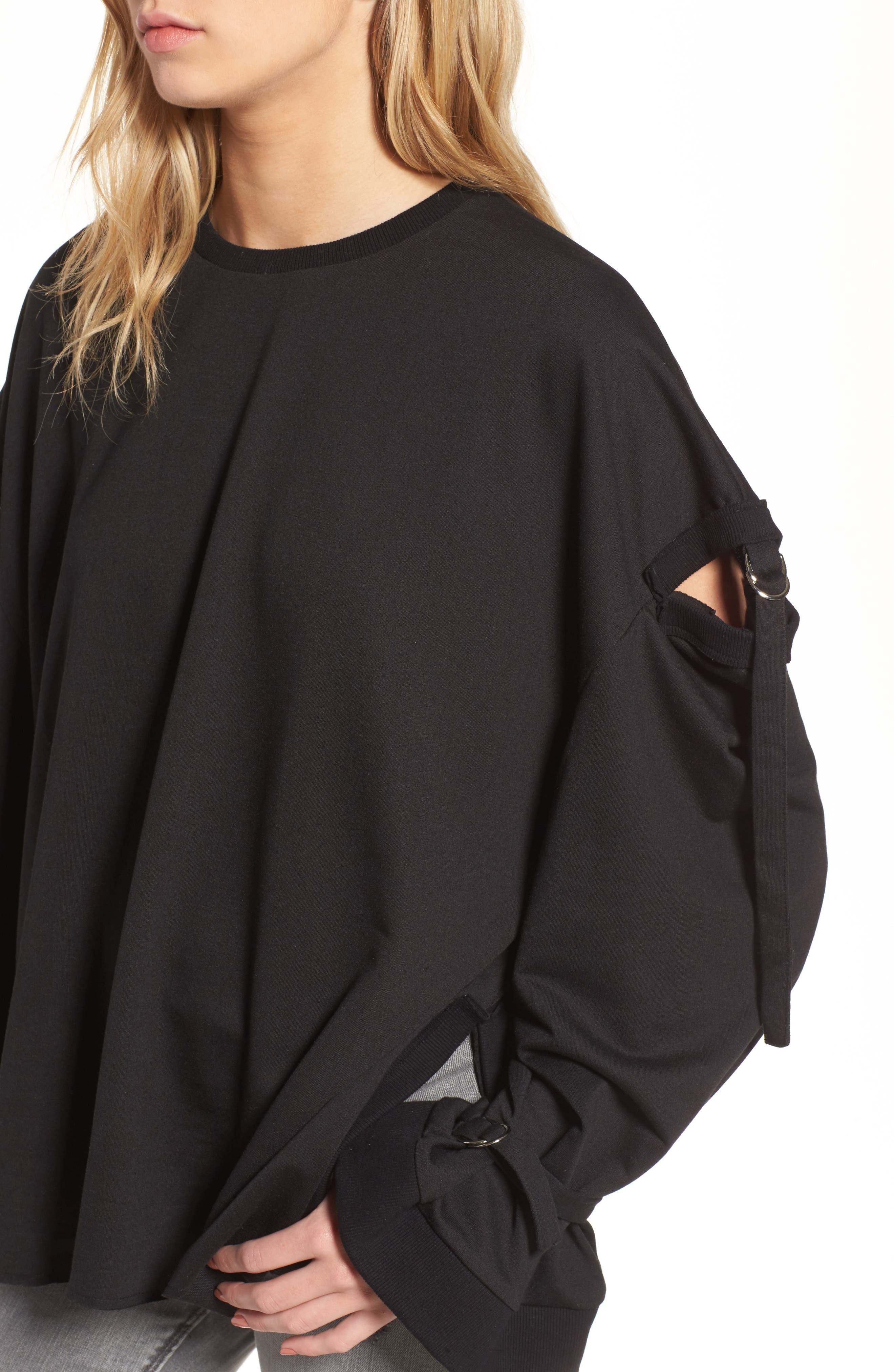 Cutout Detail Sweatshirt,                             Alternate thumbnail 4, color,                             001