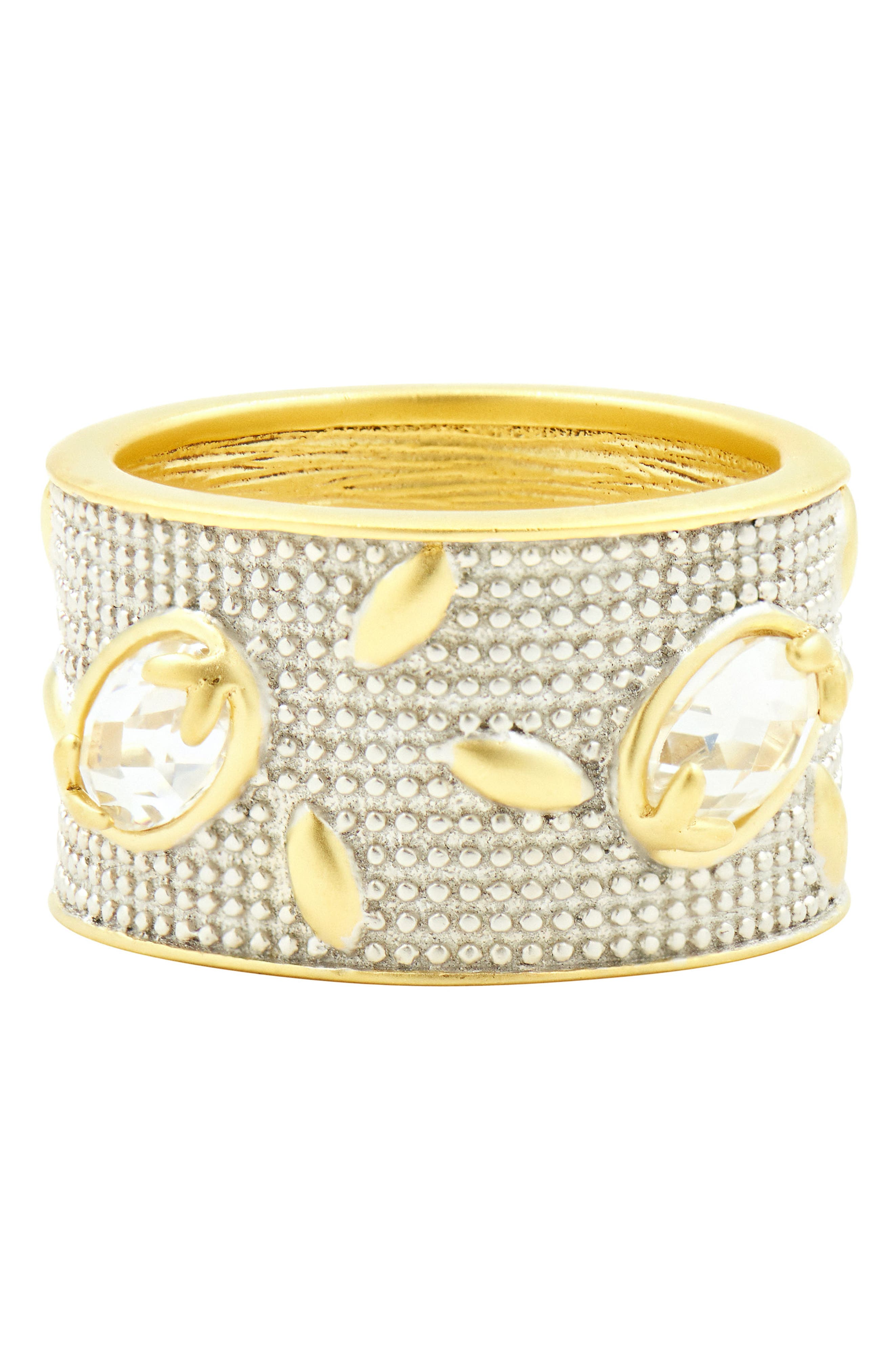 Fleur Bloom Wide Band Ring,                             Alternate thumbnail 2, color,                             SILVER AND GOLD