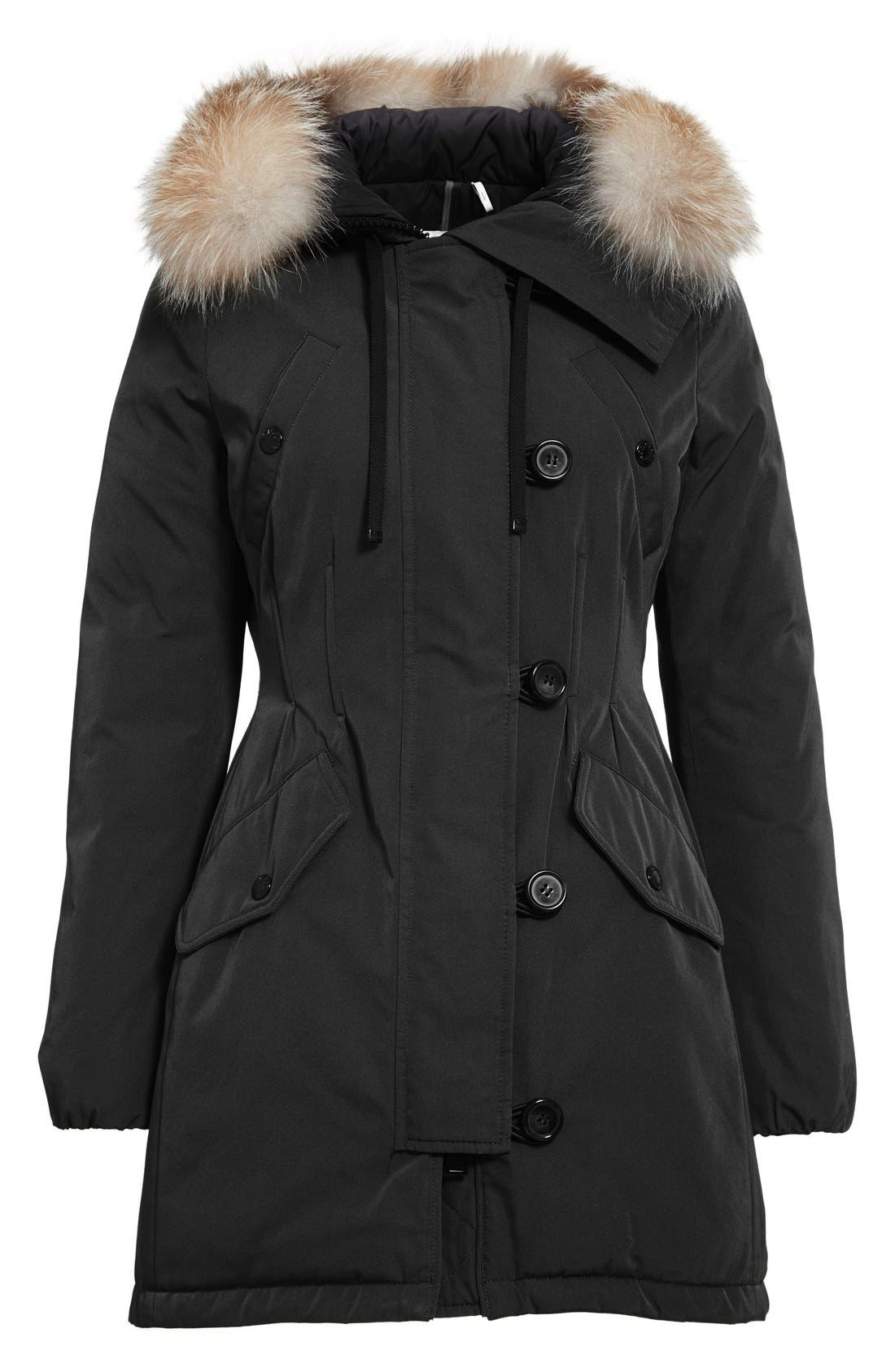 Aredhel Hooded Down Parka with Removable Genuine Fox Fur Trim,                             Alternate thumbnail 8, color,                             001