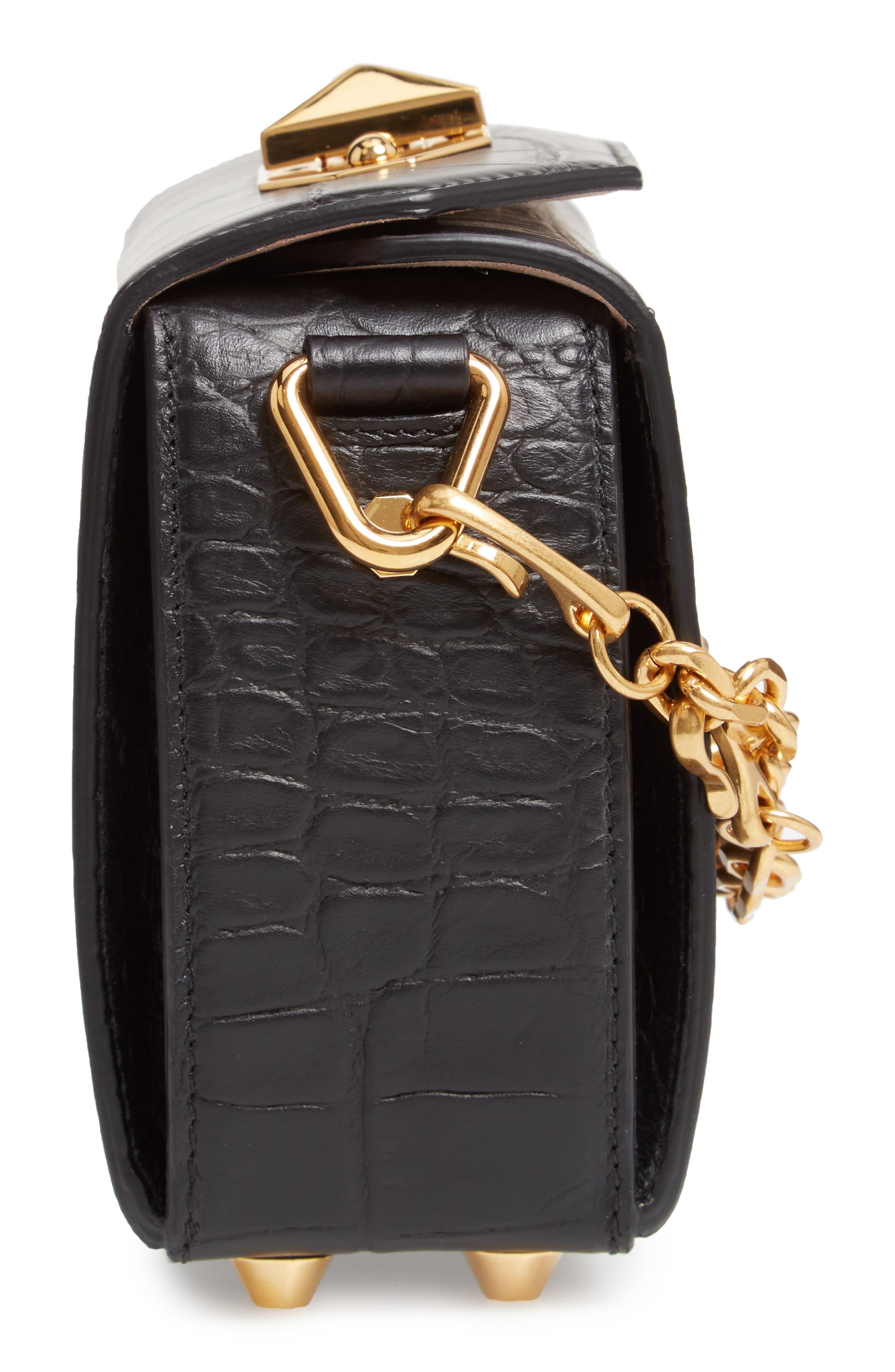 ALEXANDER MCQUEEN,                             Mini Box Croc-Embossed Leather Bag,                             Alternate thumbnail 6, color,                             001