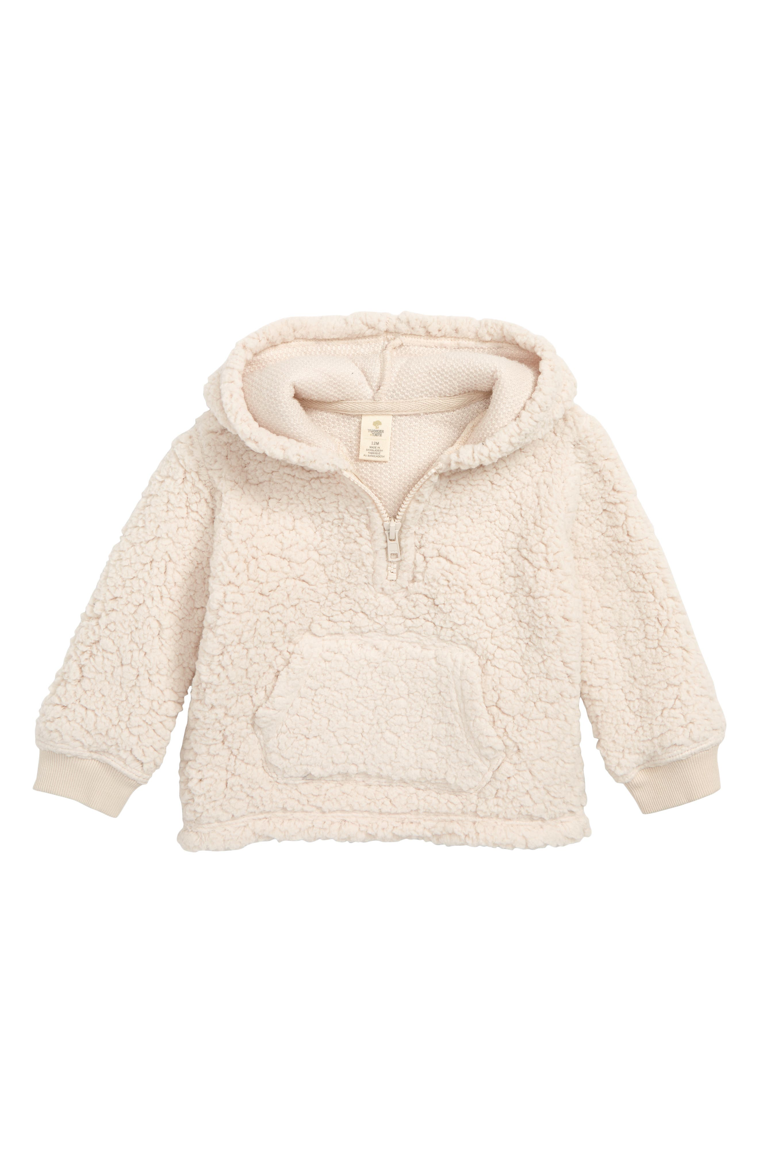 TUCKER + TATE Faux Fur Pullover Hoodie, Main, color, IVORY EGRET