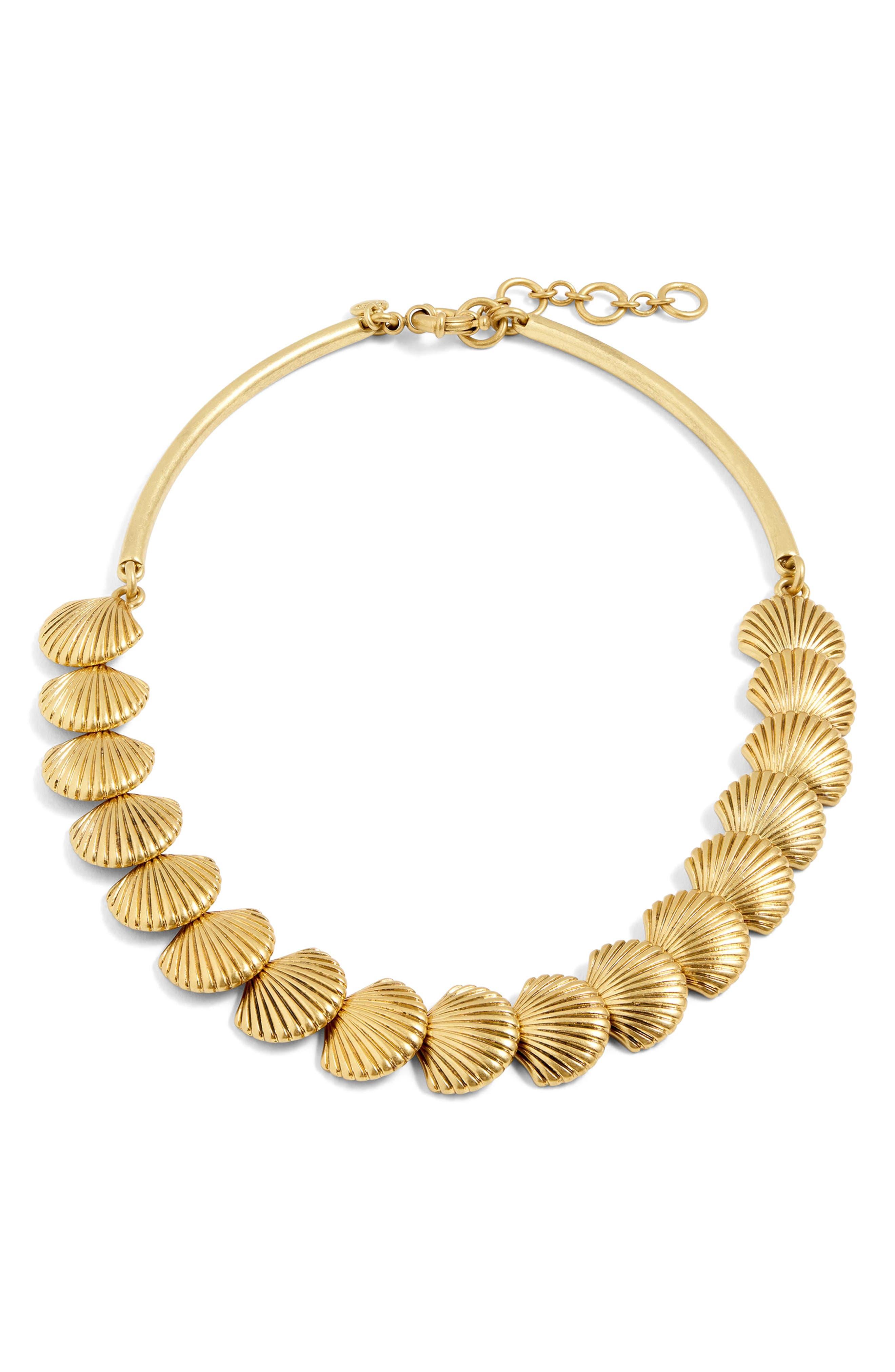 J.CREW Seashell Collar Necklace, Main, color, 710