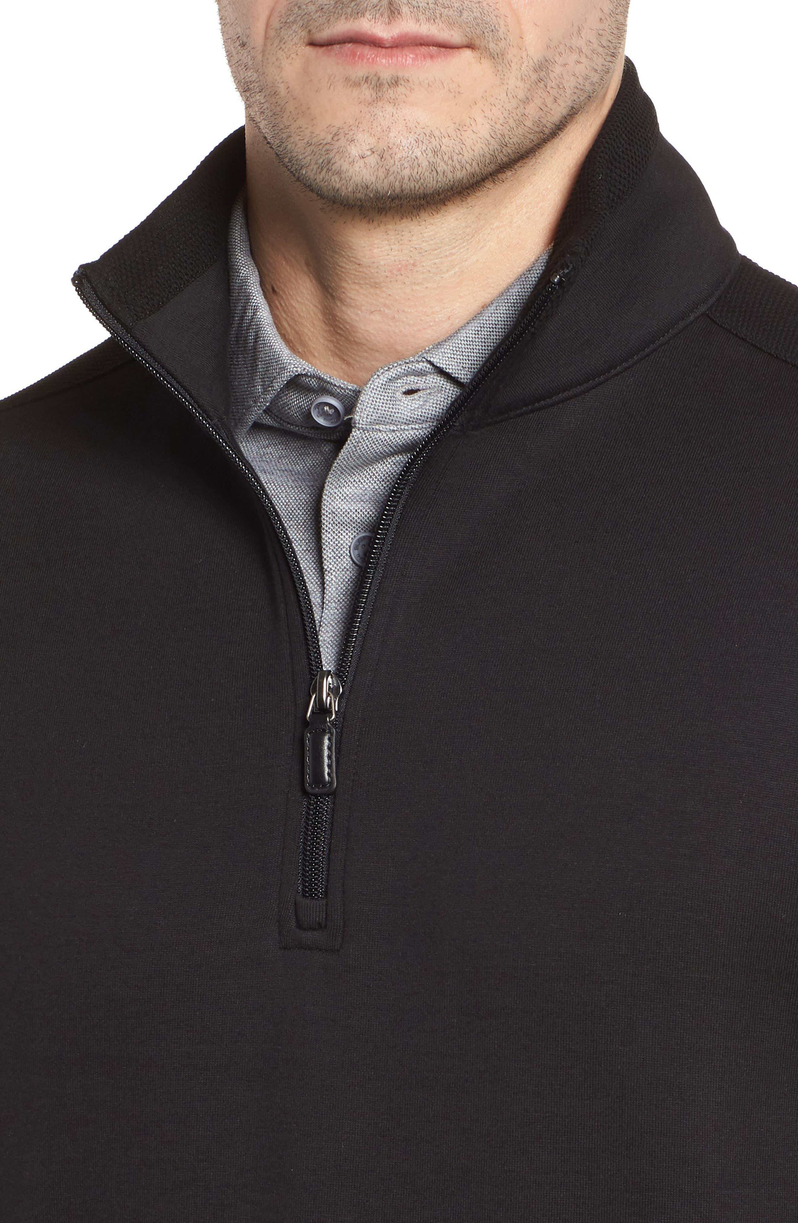 Regular Fit Knit Quarter Zip Pullover,                             Alternate thumbnail 4, color,                             001