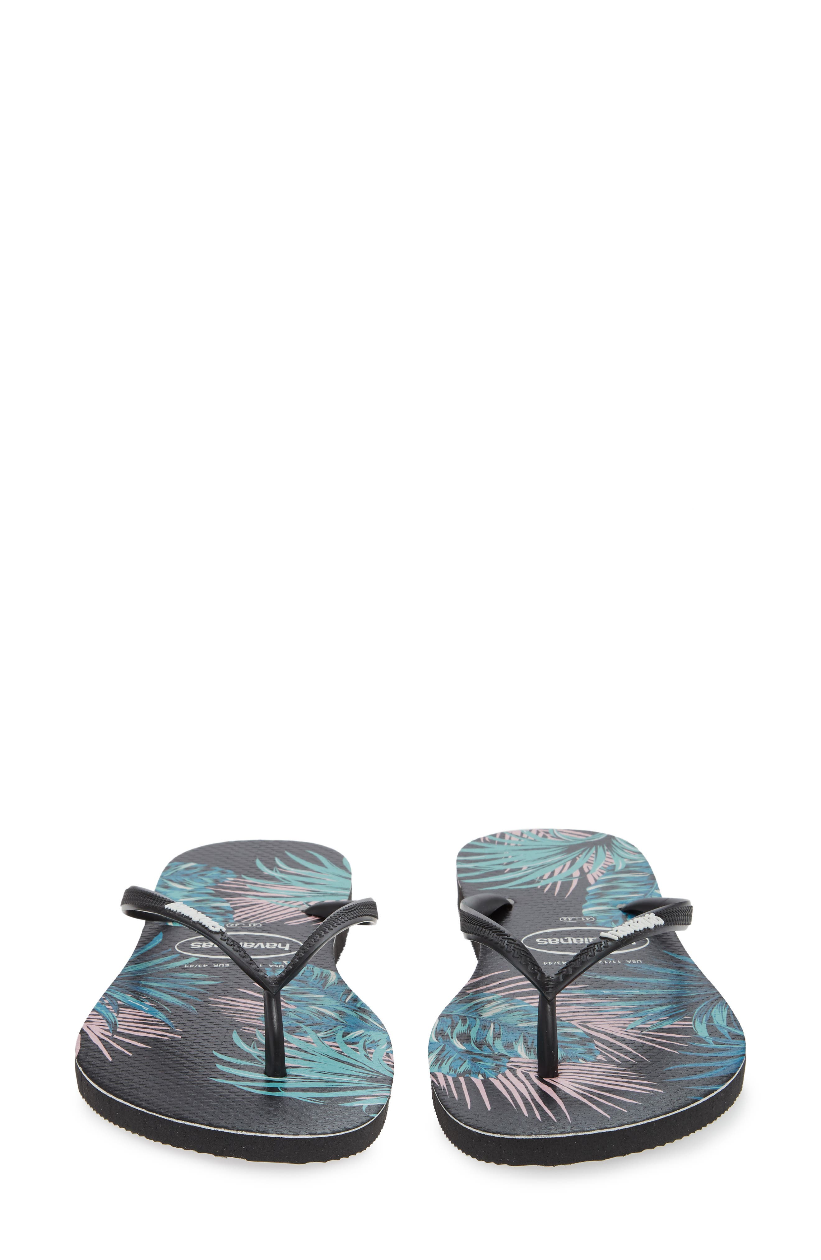 Slim Tropical Floral Flip Flop,                             Alternate thumbnail 5, color,                             BLACK/ PINK