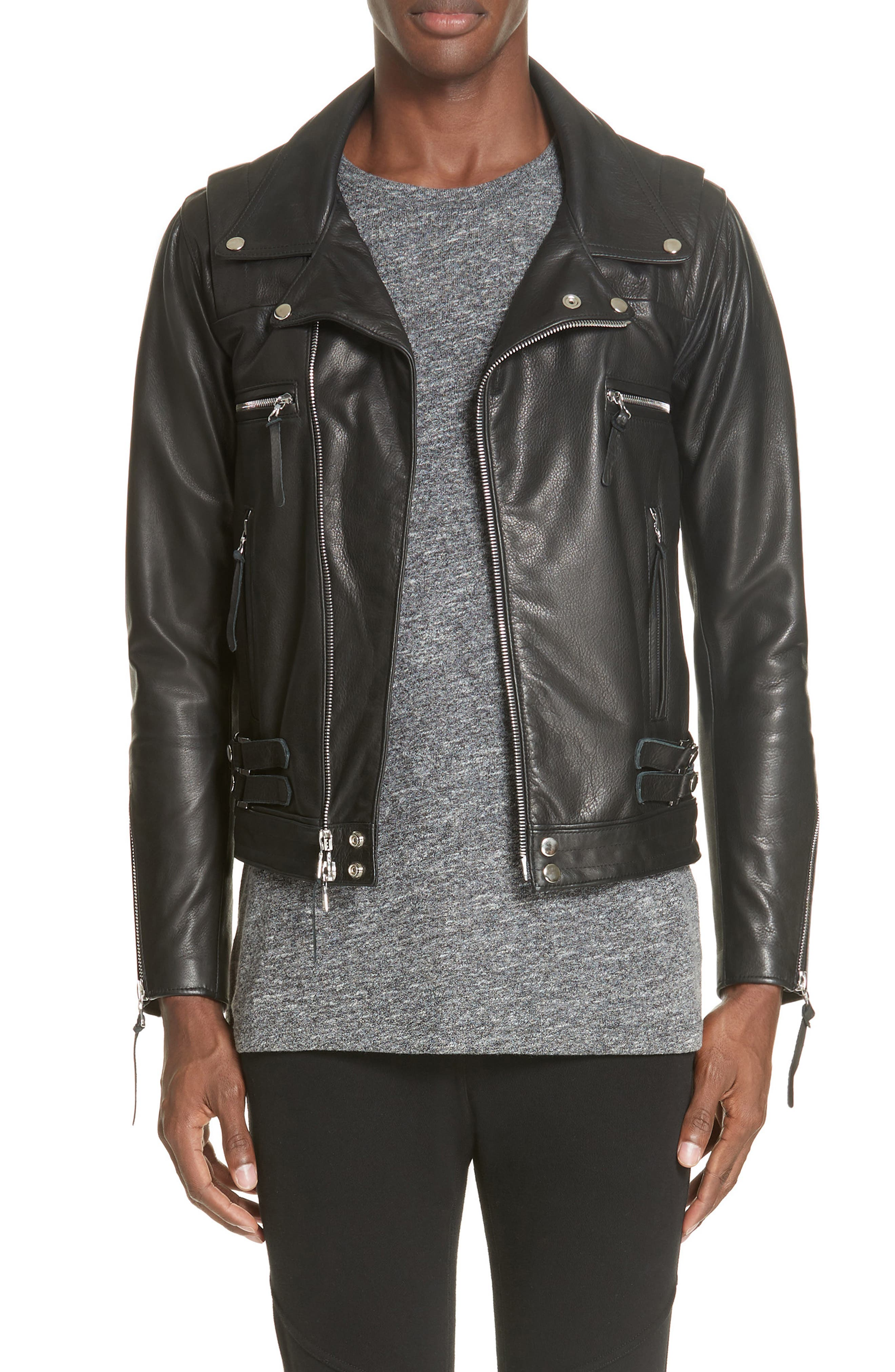 Riders Leather Jacket,                             Main thumbnail 1, color,                             BLACK