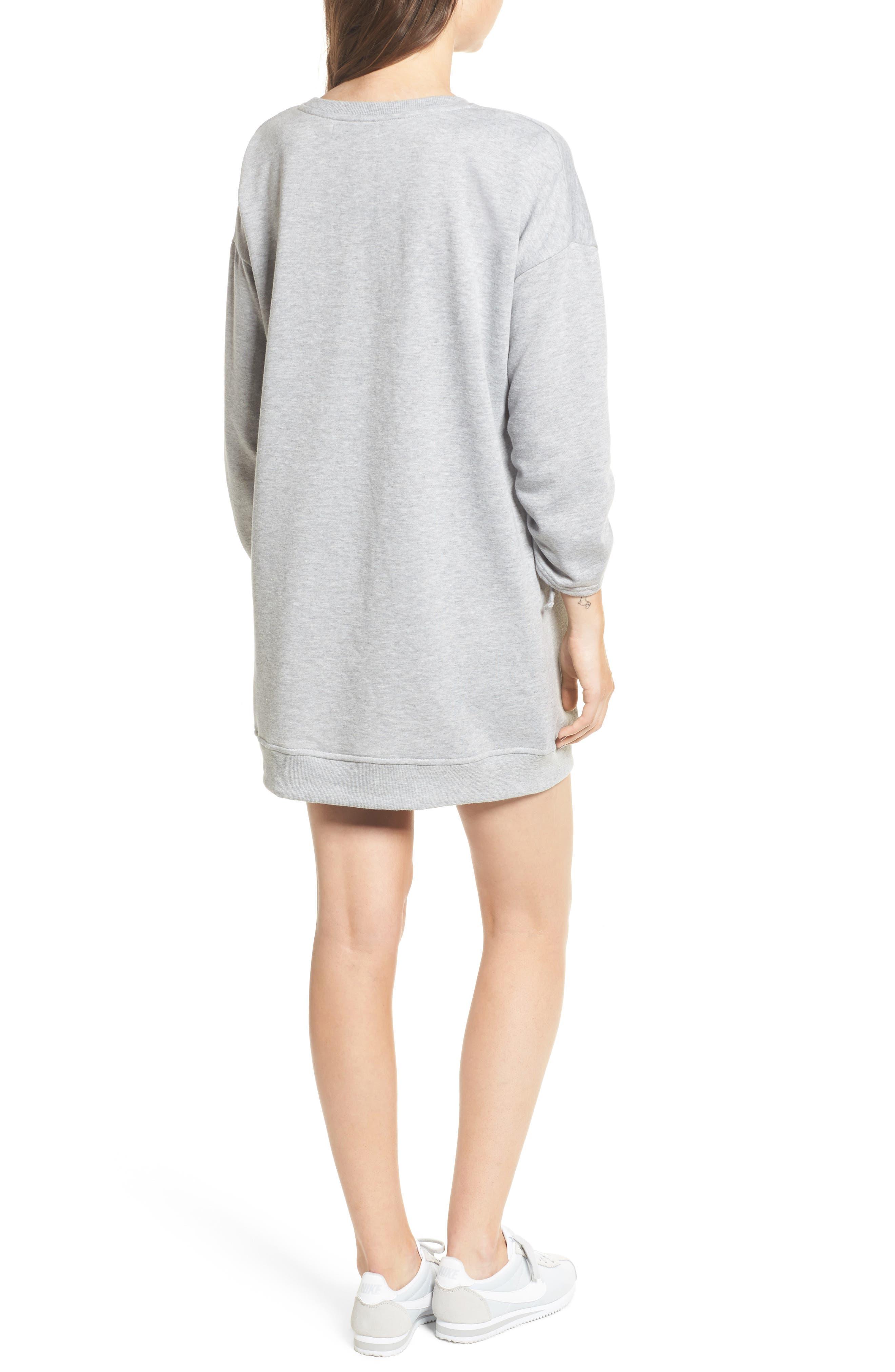 Ruched Sleeve Sweatshirt Dress,                             Alternate thumbnail 2, color,                             020