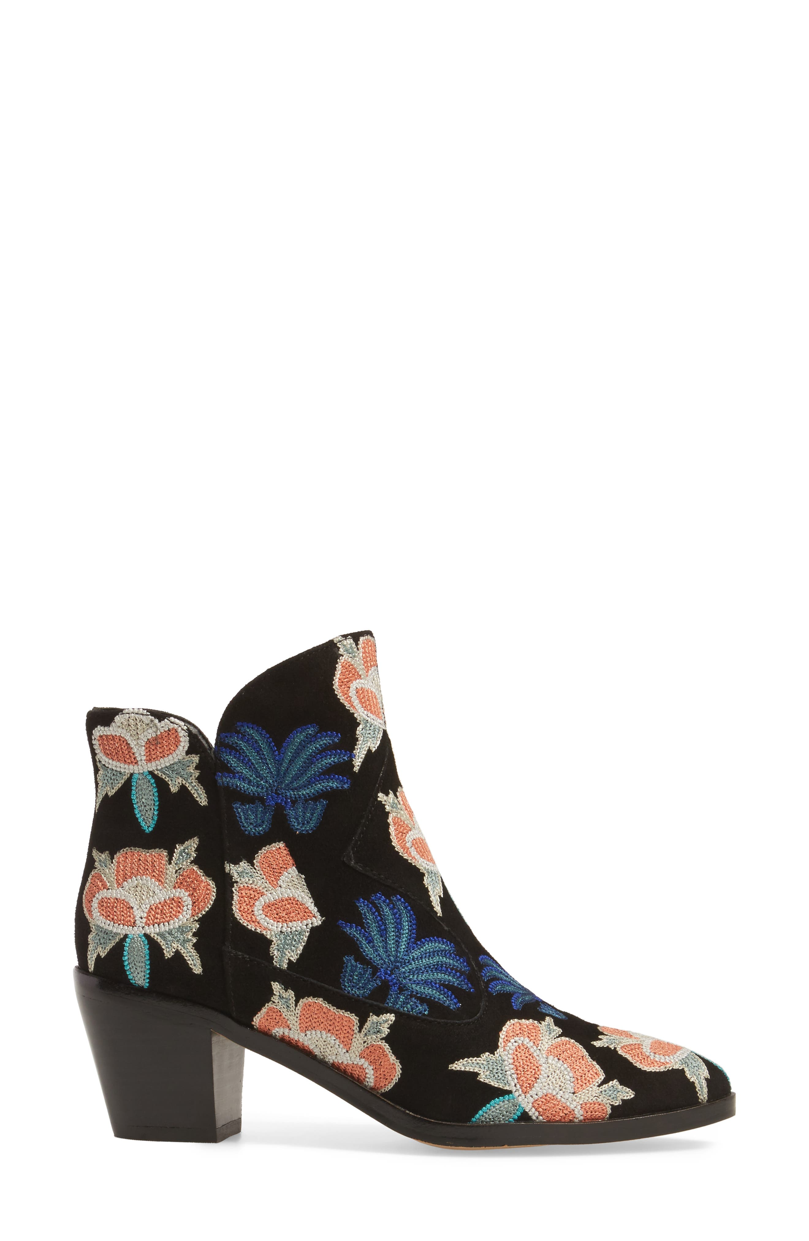 Lulu Too Flower Embroidered Bootie,                             Alternate thumbnail 3, color,                             004