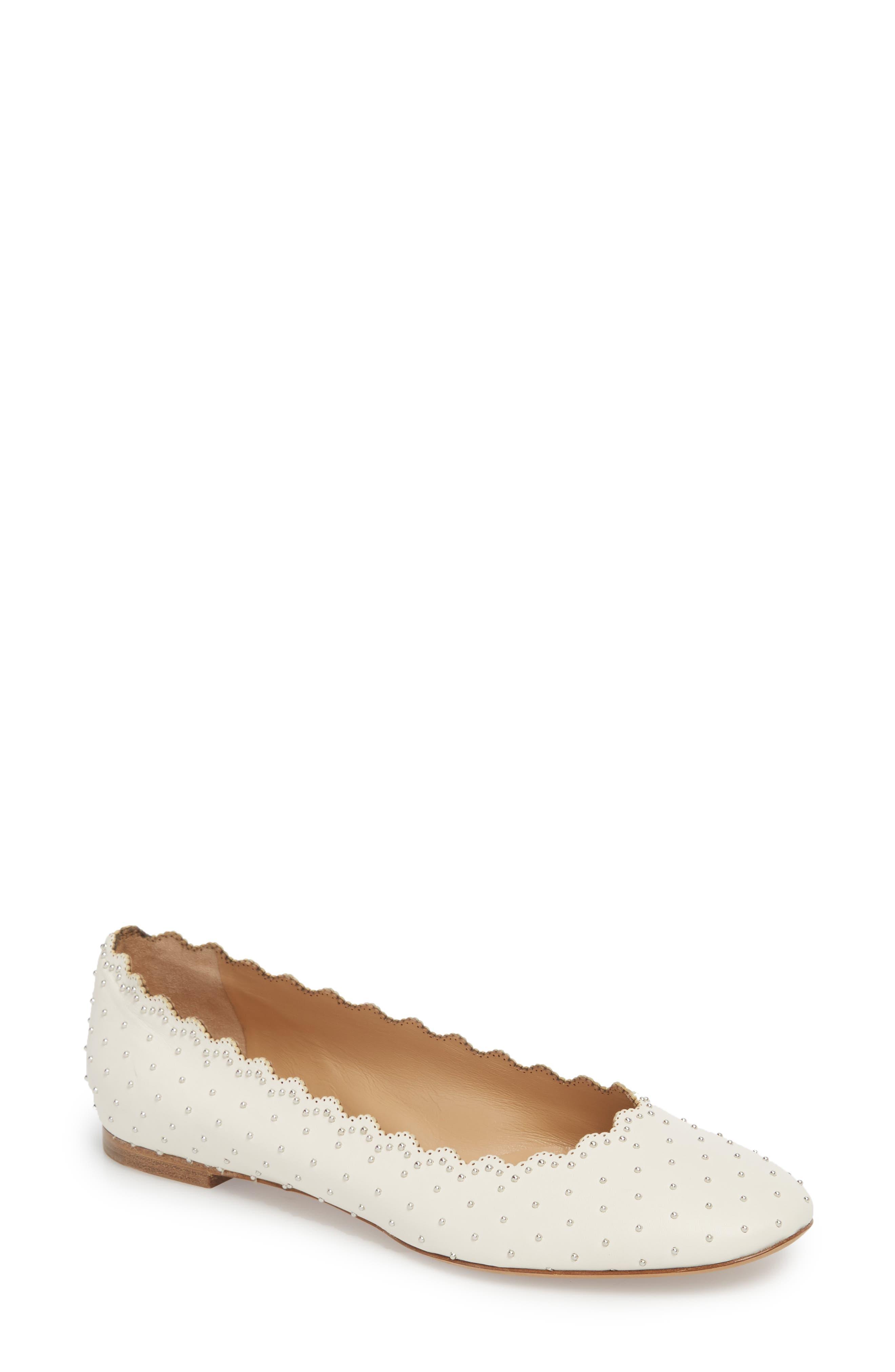 Lauren Studded Ballet Flat,                             Main thumbnail 1, color,                             WHITE