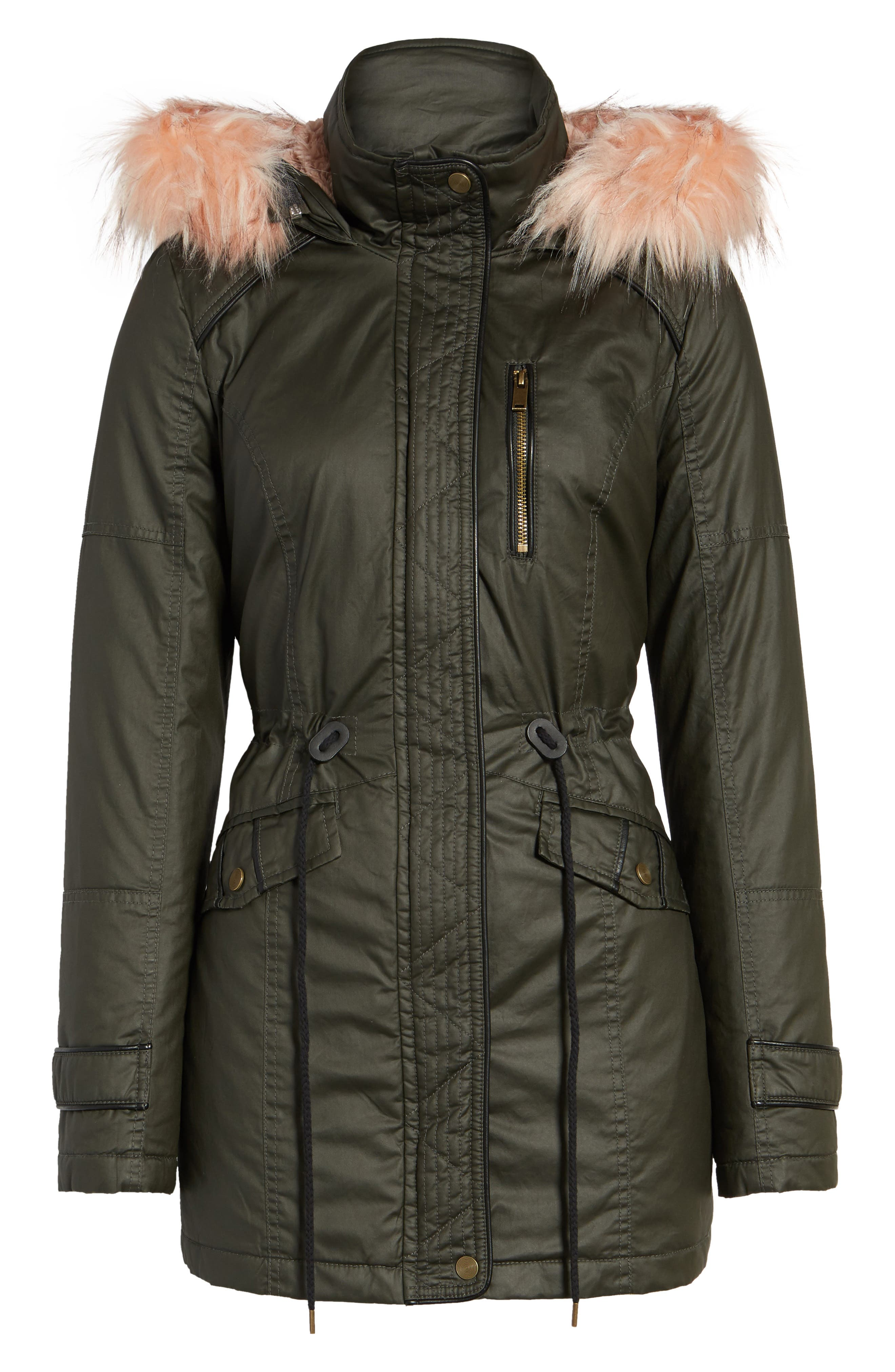 Waxed Cotton Parka with Faux Fur Hood,                             Alternate thumbnail 5, color,