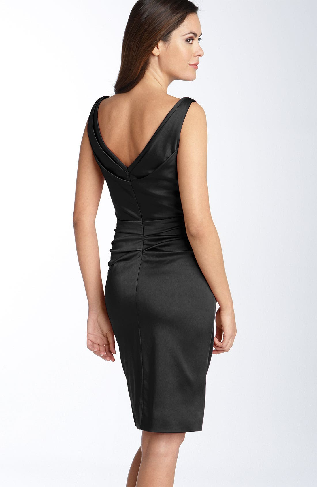 Ruched Stretch Satin Sheath Dress,                         Main,                         color, 001