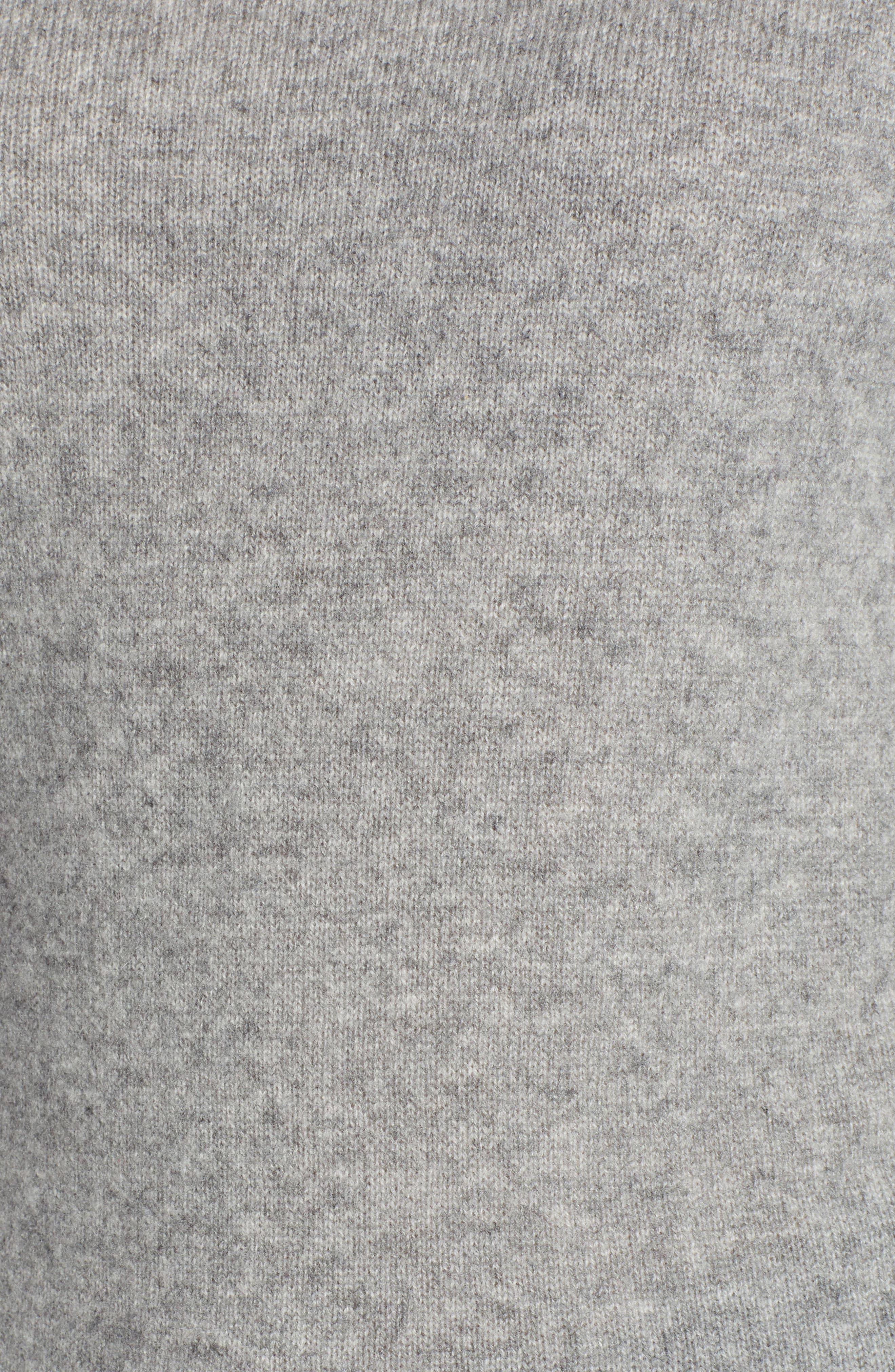 HALOGEN<SUP>®</SUP>,                             Funnel Neck Cashmere Sweater,                             Alternate thumbnail 5, color,                             GREY HEATHER