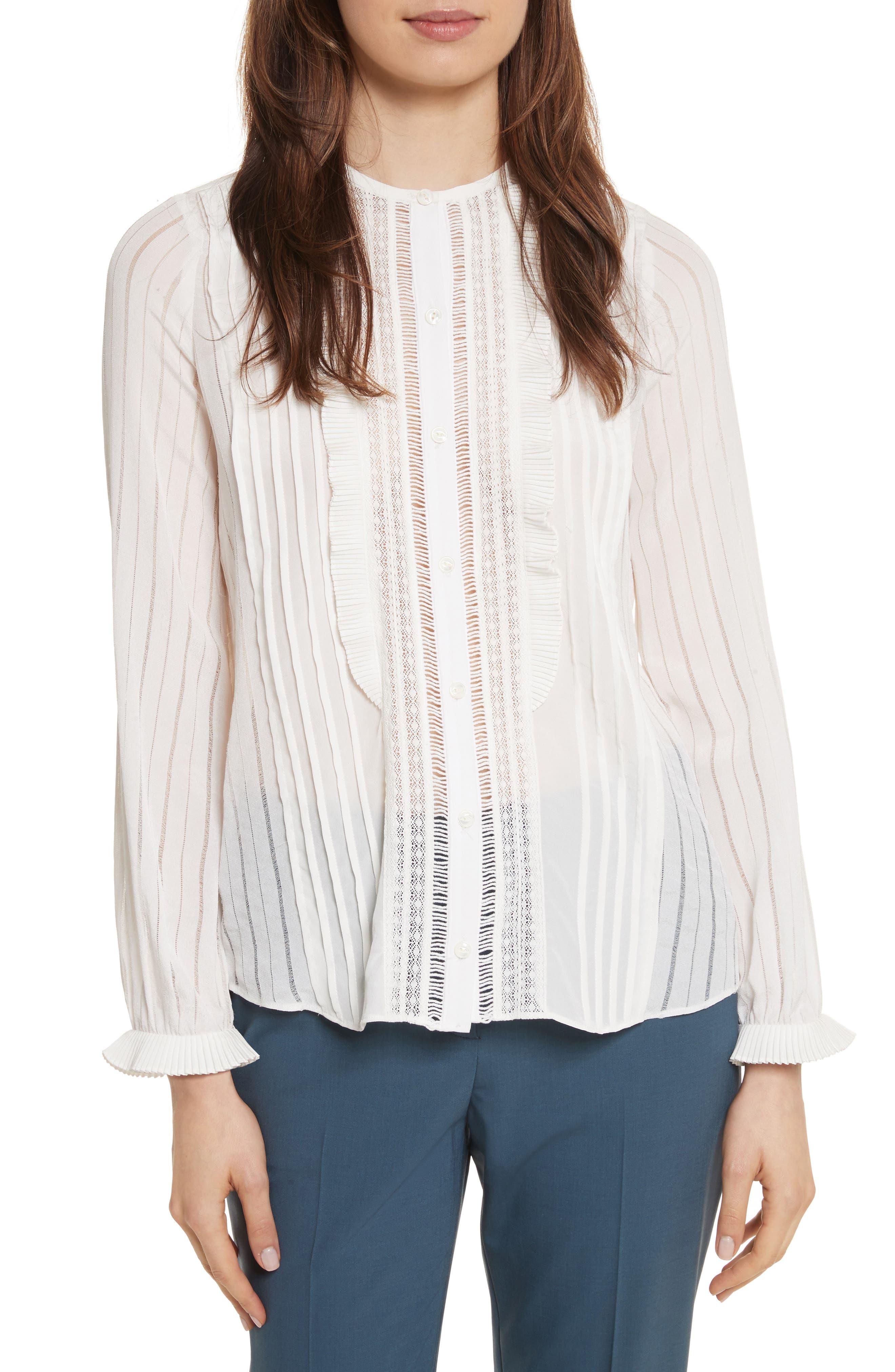 Silk & Lace Long Sleeve Blouse,                         Main,                         color, 178