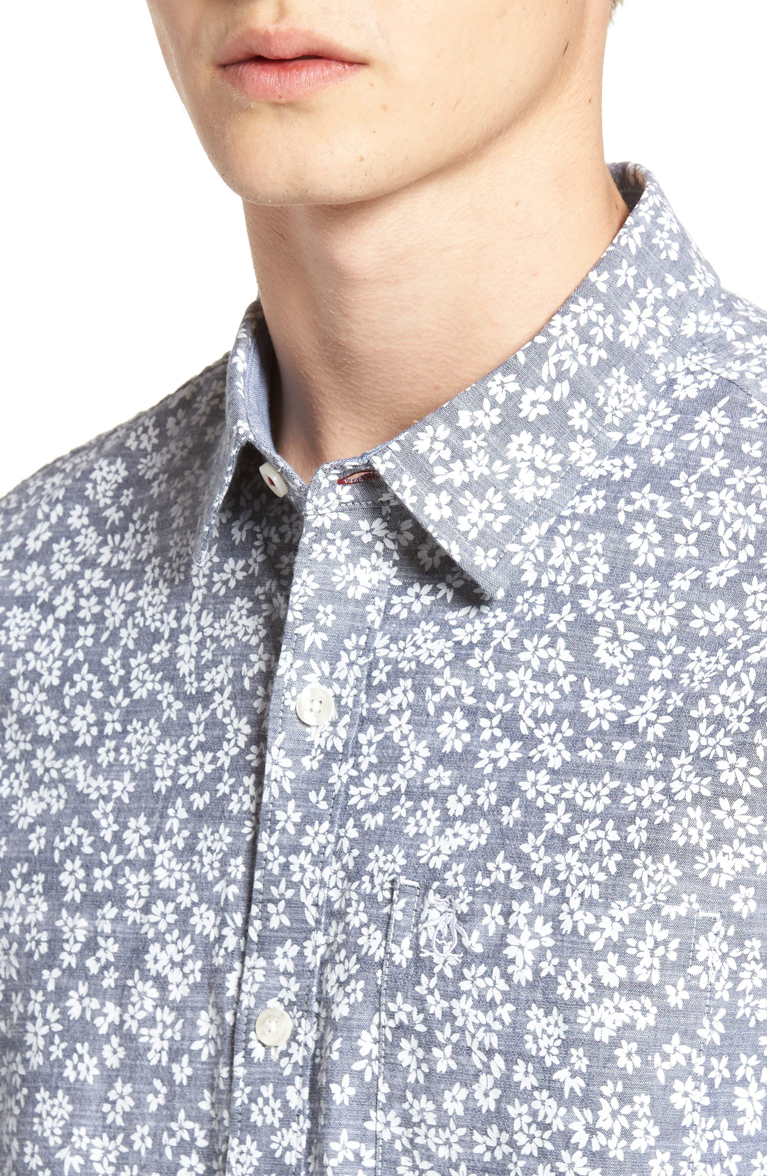 Floral Chambray Shirt,                             Alternate thumbnail 4, color,