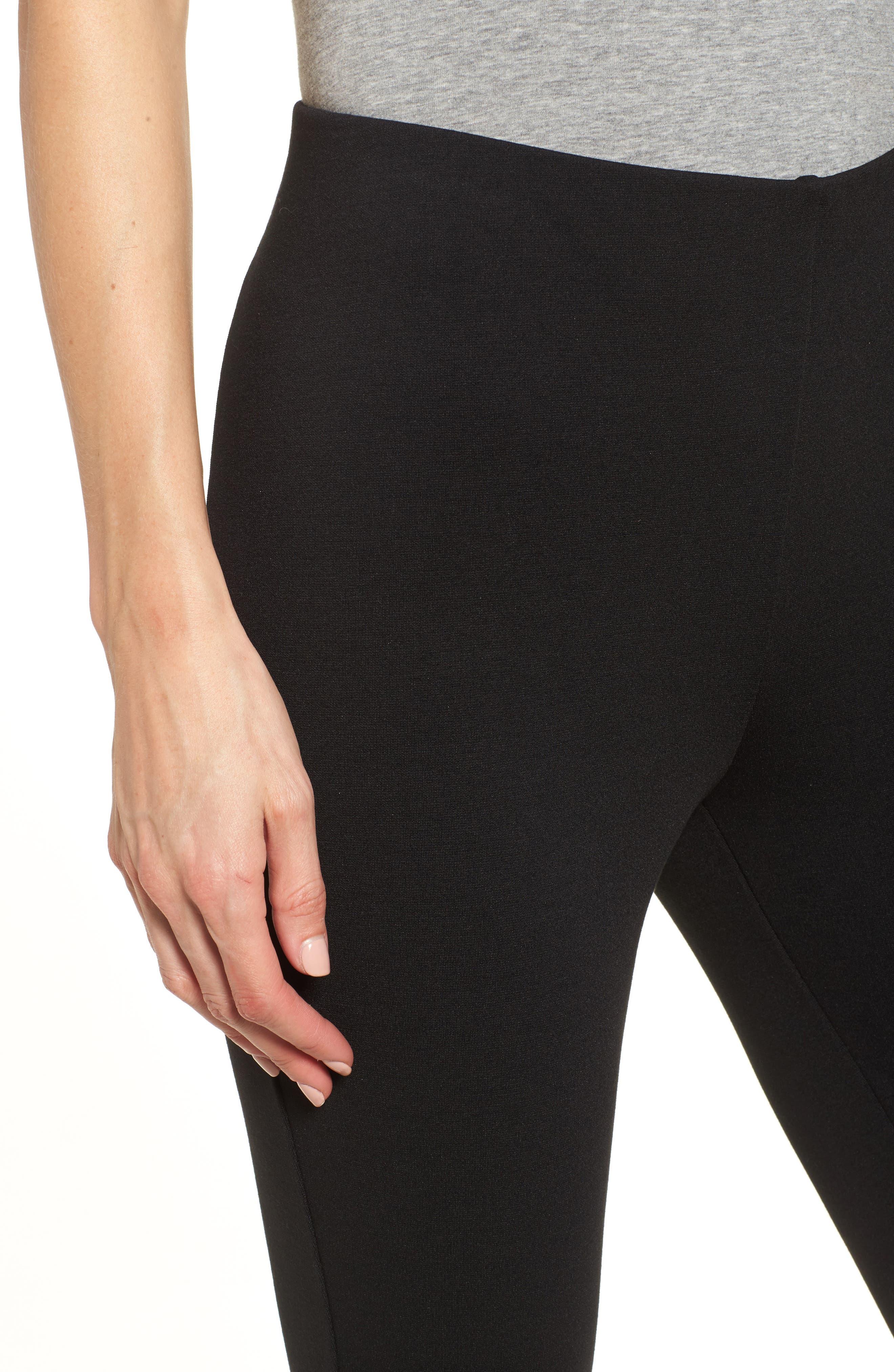 Zip Ankle Ponte Knit Leggings,                             Alternate thumbnail 4, color,                             RICH BLACK