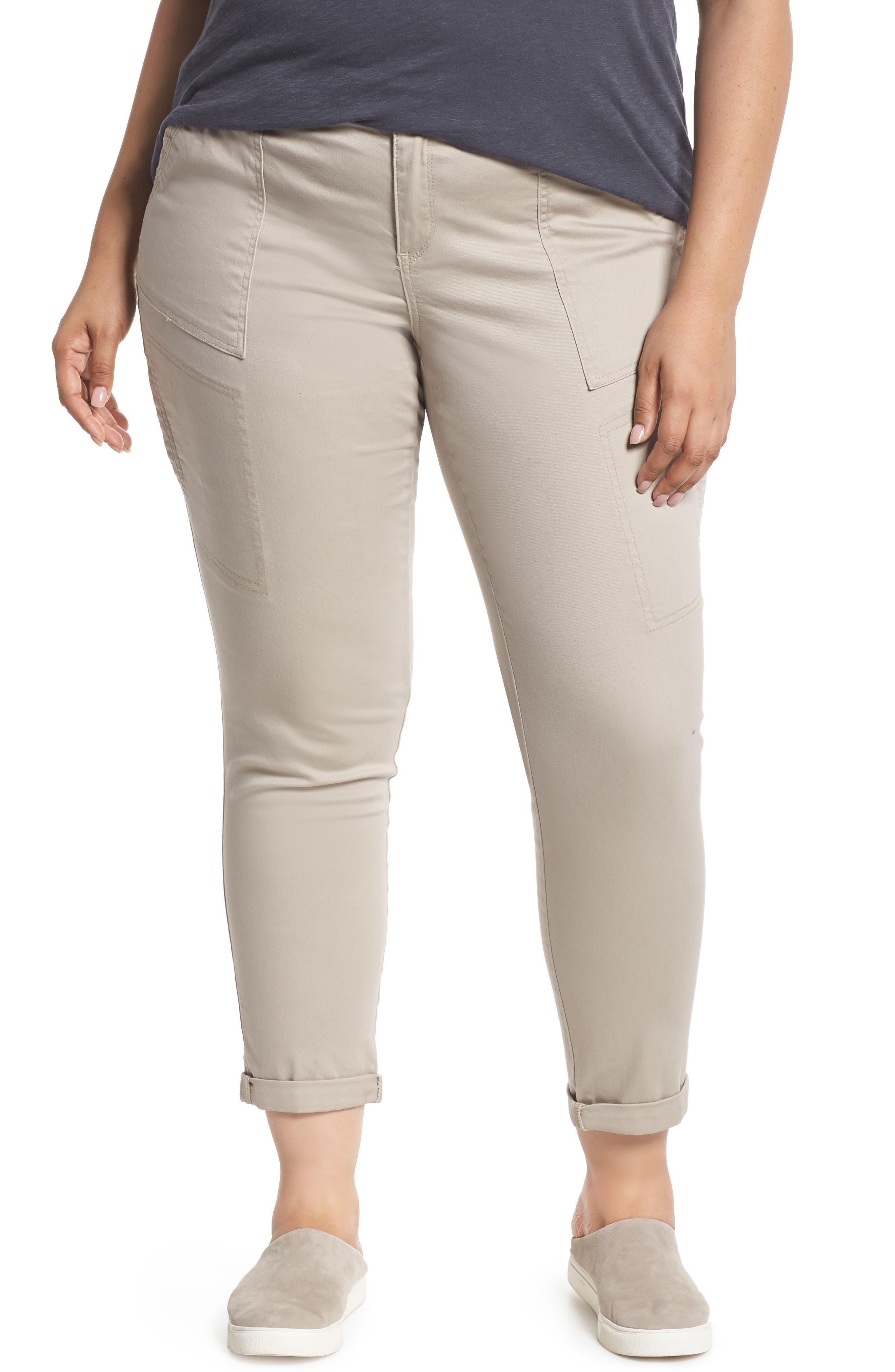 Flex-ellent Stretch Cotton Cargo Pants,                             Main thumbnail 1, color,                             FLAX
