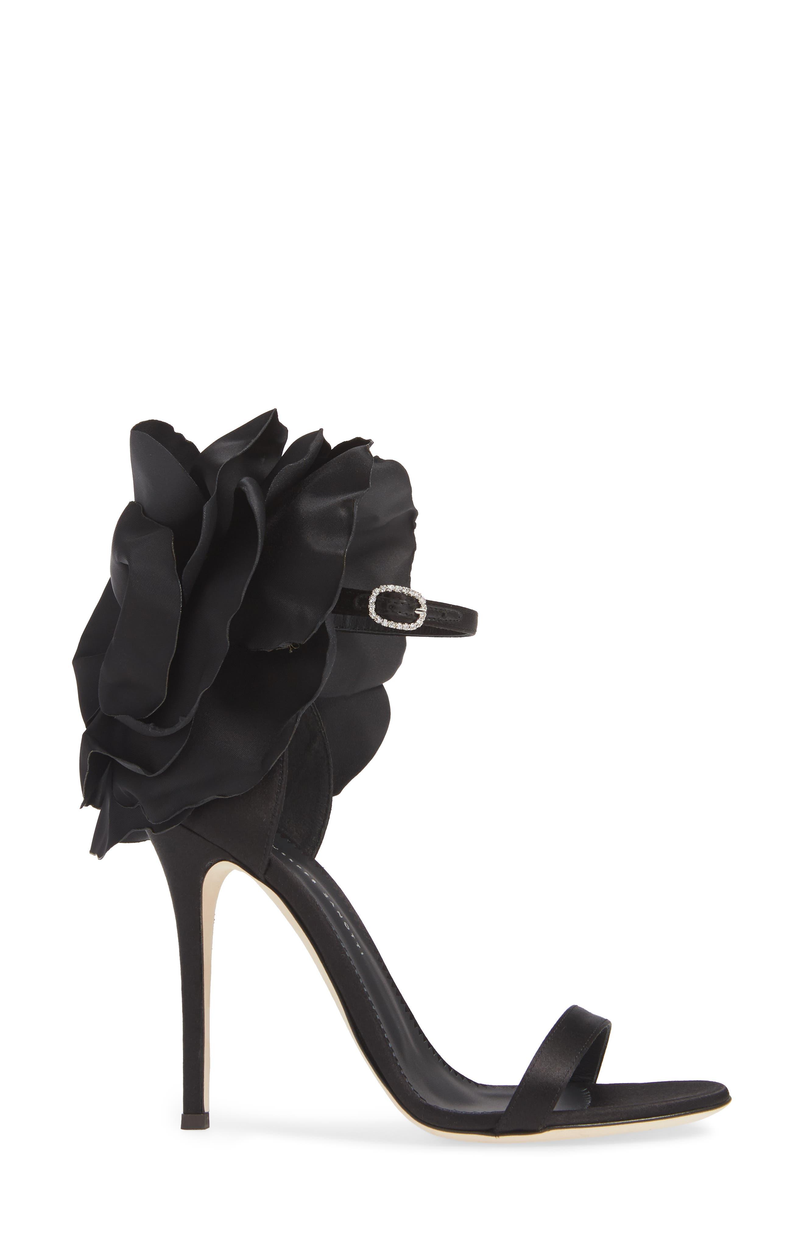 Blooming Flower Ankle Strap Sandal,                             Alternate thumbnail 3, color,                             BLACK